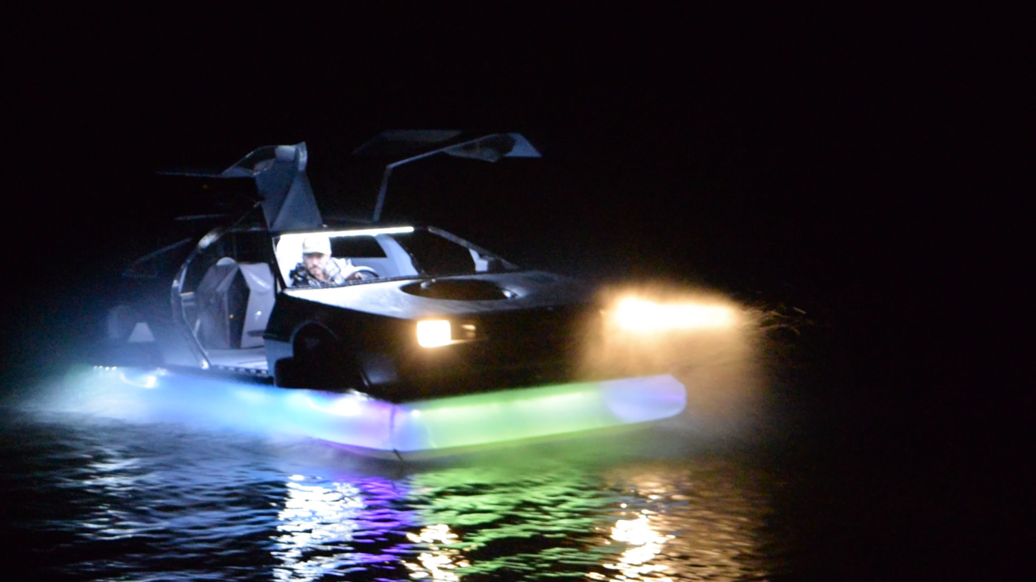 delorean hovercraft night underglow