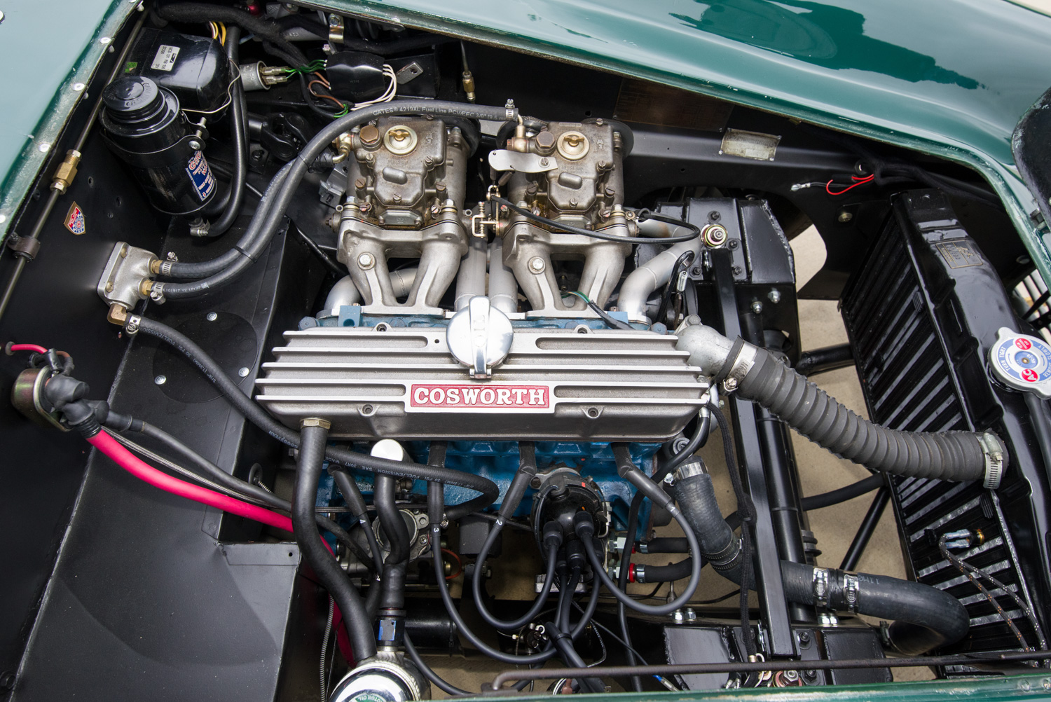 The Cosworth modified 1.5-liter Ford four-cylinder is fitted with dual Weber DCOE 40 carburetors. It was raced with these carbs in England. The dual Webers are not legal in U.S. SCCA amateur racing. Other Cosworth components include a modified crankshaft and camshaft, Lotus connecting rods and a considerable amount of cylinder head work. Output is approximately 160 horsepower.