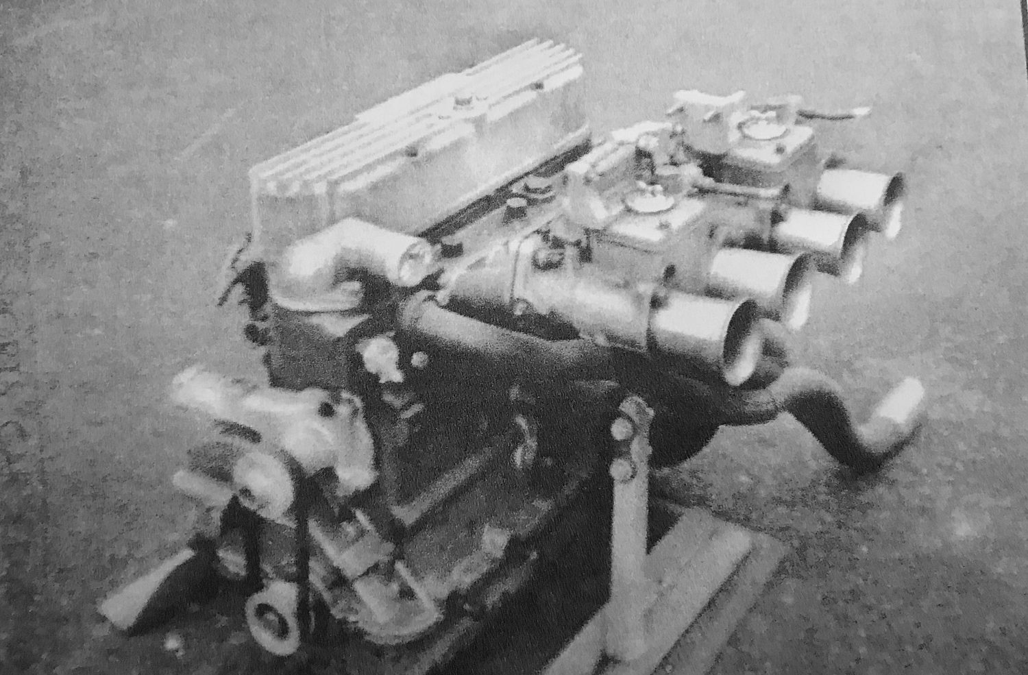 The Cosworth-modified Ford engine of Ruth's Turner in race trim, early 1970s.