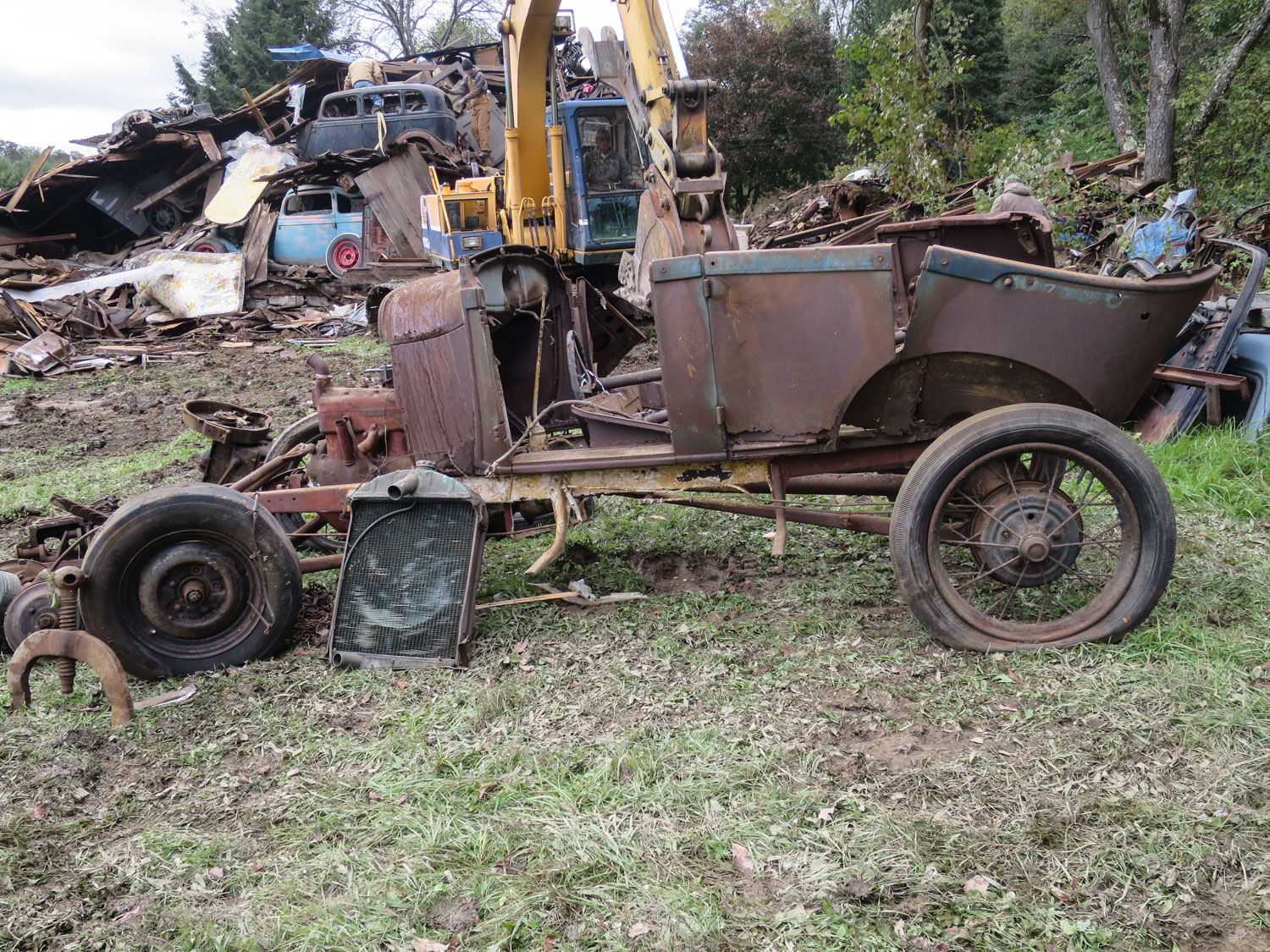 1928-1929 Ford Model A Phaeton barn collapse side
