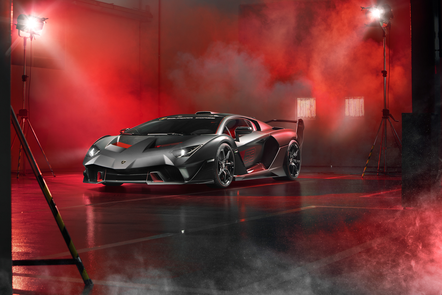 Lamborghini SC18 front 3/4 lights fog red