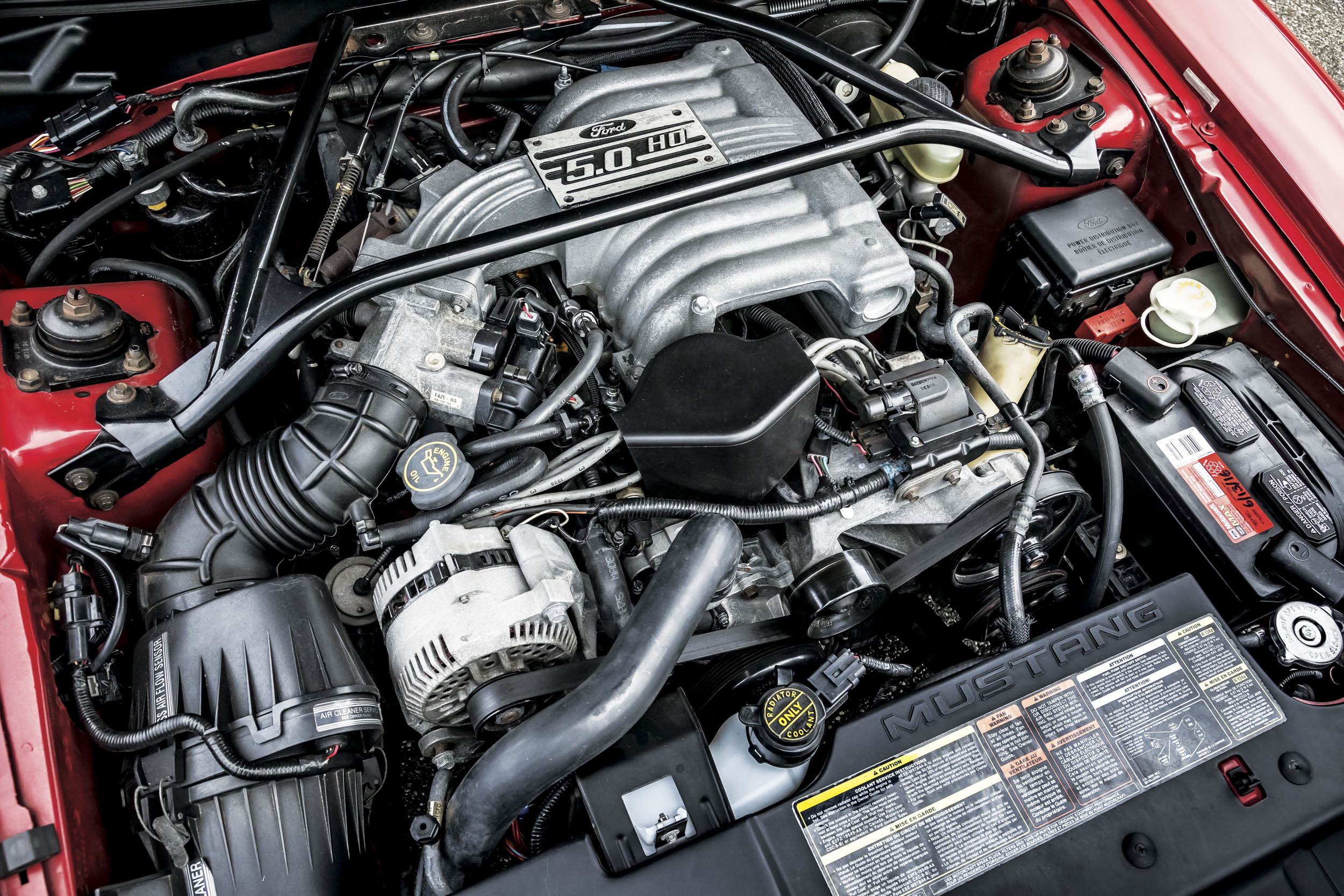 Coletti and company saw no need to mess with a good thing, so the proven 5.0 V-8 carried over to the new Mustang. It made 215 horsepower at 4200 rpm.