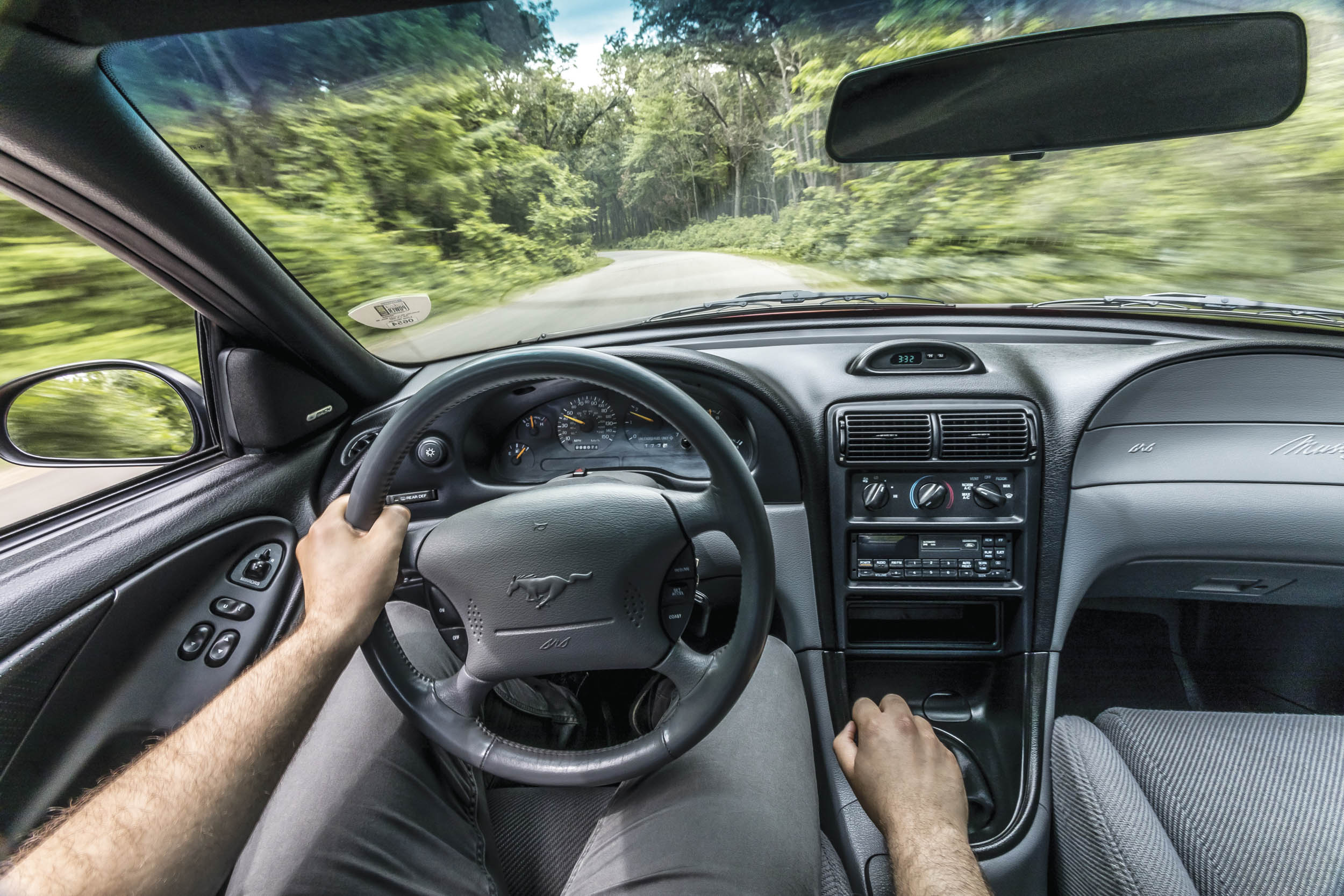 The Mustang makes its 285 pound-feet of torque at 3400 rpm, and keeping the V-8 in that sweet spot is easy with the solid fivespeed. The pedals even allow heeland- toe shifting.