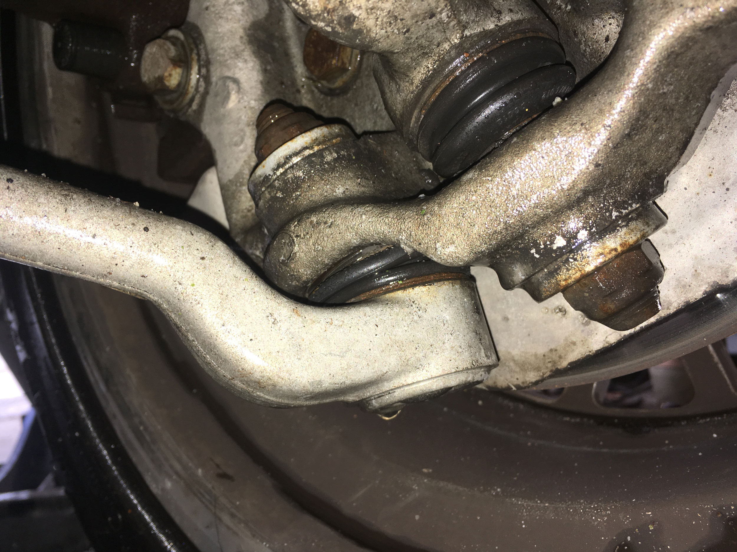 The ball joints from the lower (left) and upper (right) control arms. The bad one was the one on the left.
