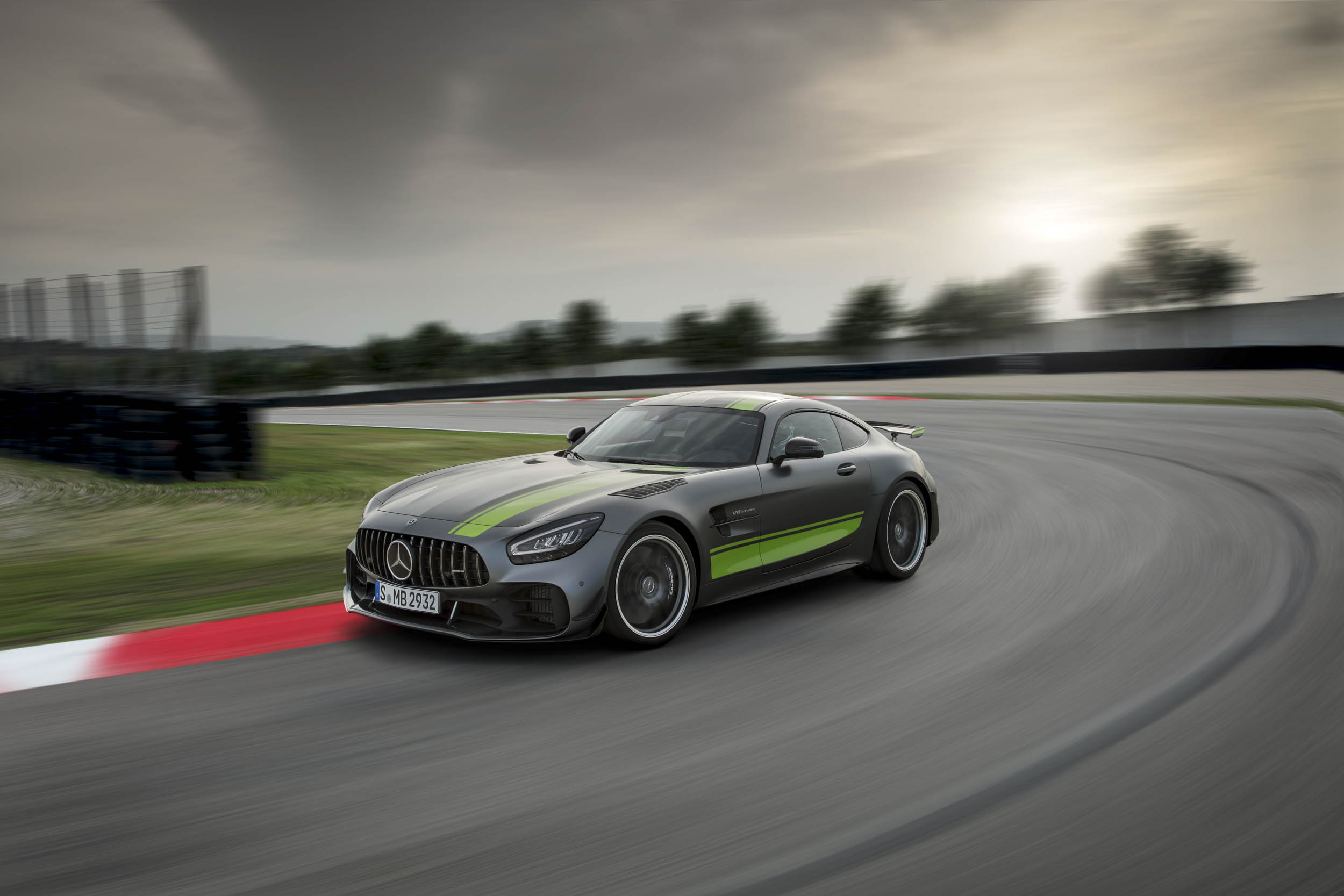 Mercedes-AMG GT R Pro turning right on the track