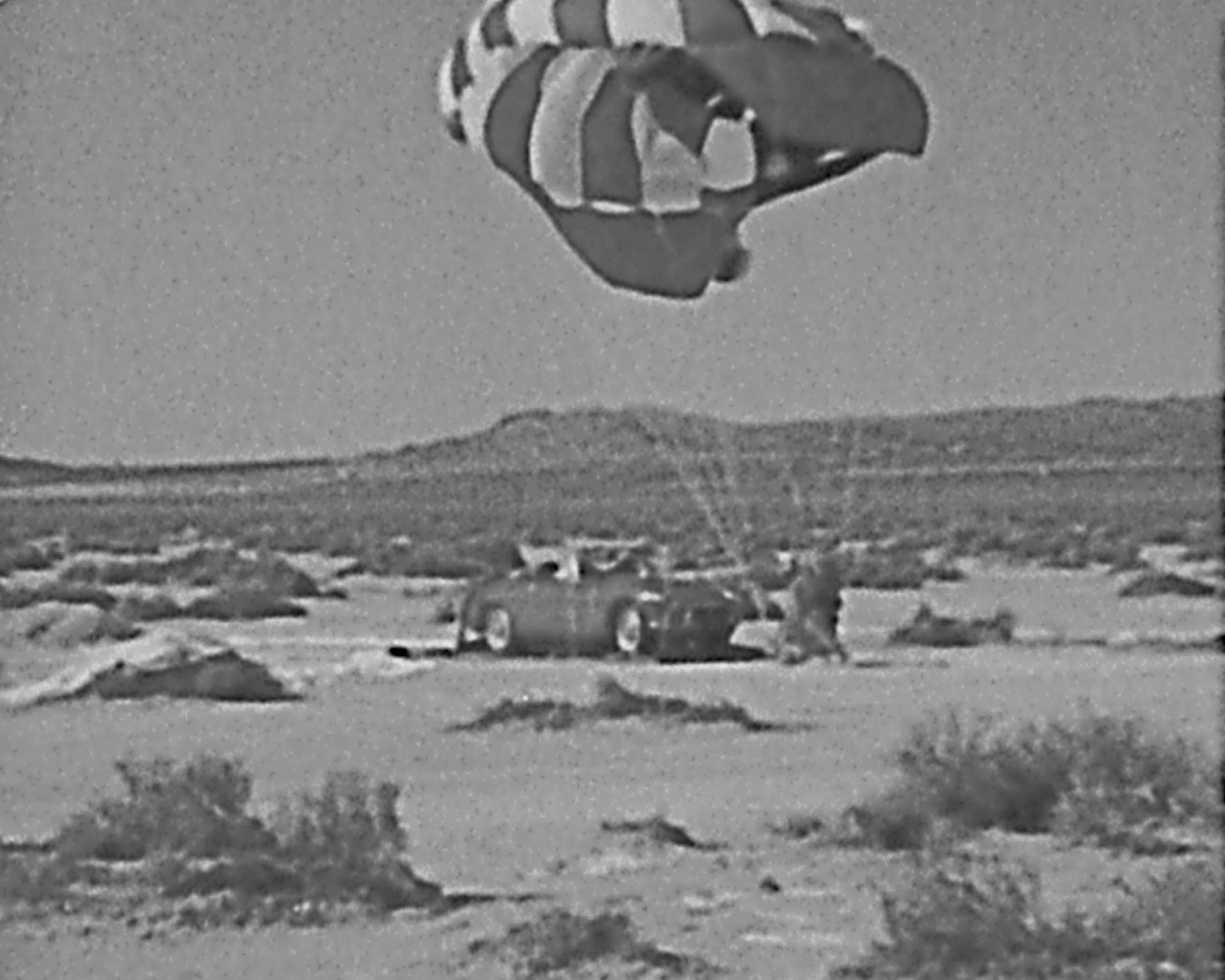parachuting car landing