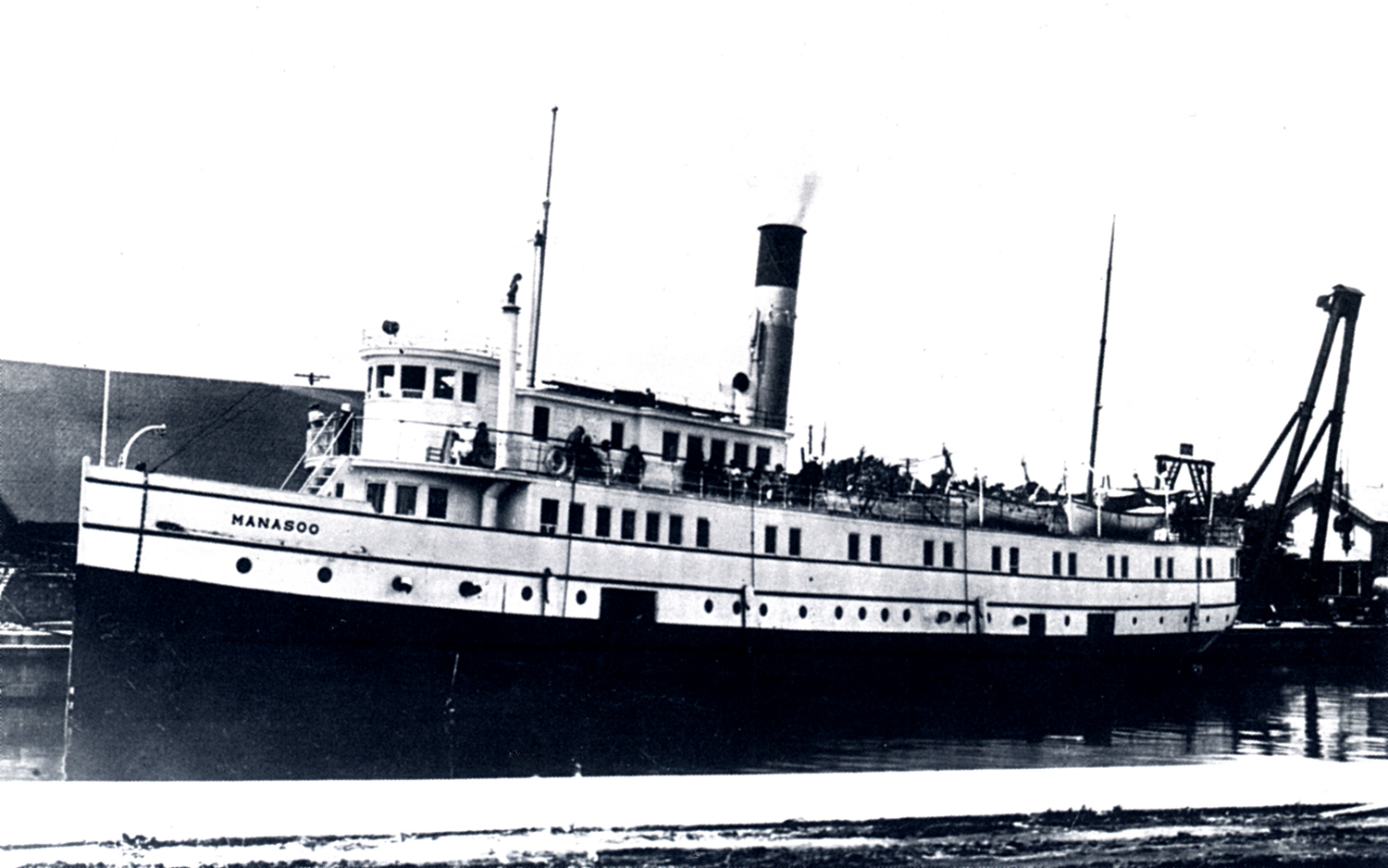 Renamed the MANASOO early in 1928, this ship sank in Georgian Bay on what was planned to be its final run of that season. Only five people survived from the 21 on board the ship