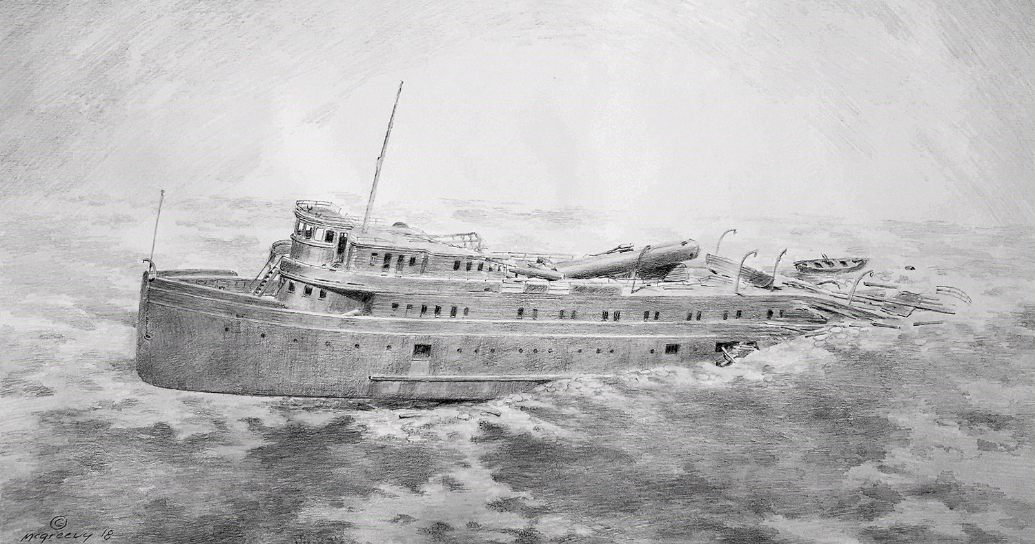 The MANASOO lies upright in more than 200 feet (60 metres) of cold water in the Georgian Bay part of Lake Huron near the city of Owen Sound, her stern deeply embedded in the bottom and her bow rising on a pronounced angle to- wards the surface.