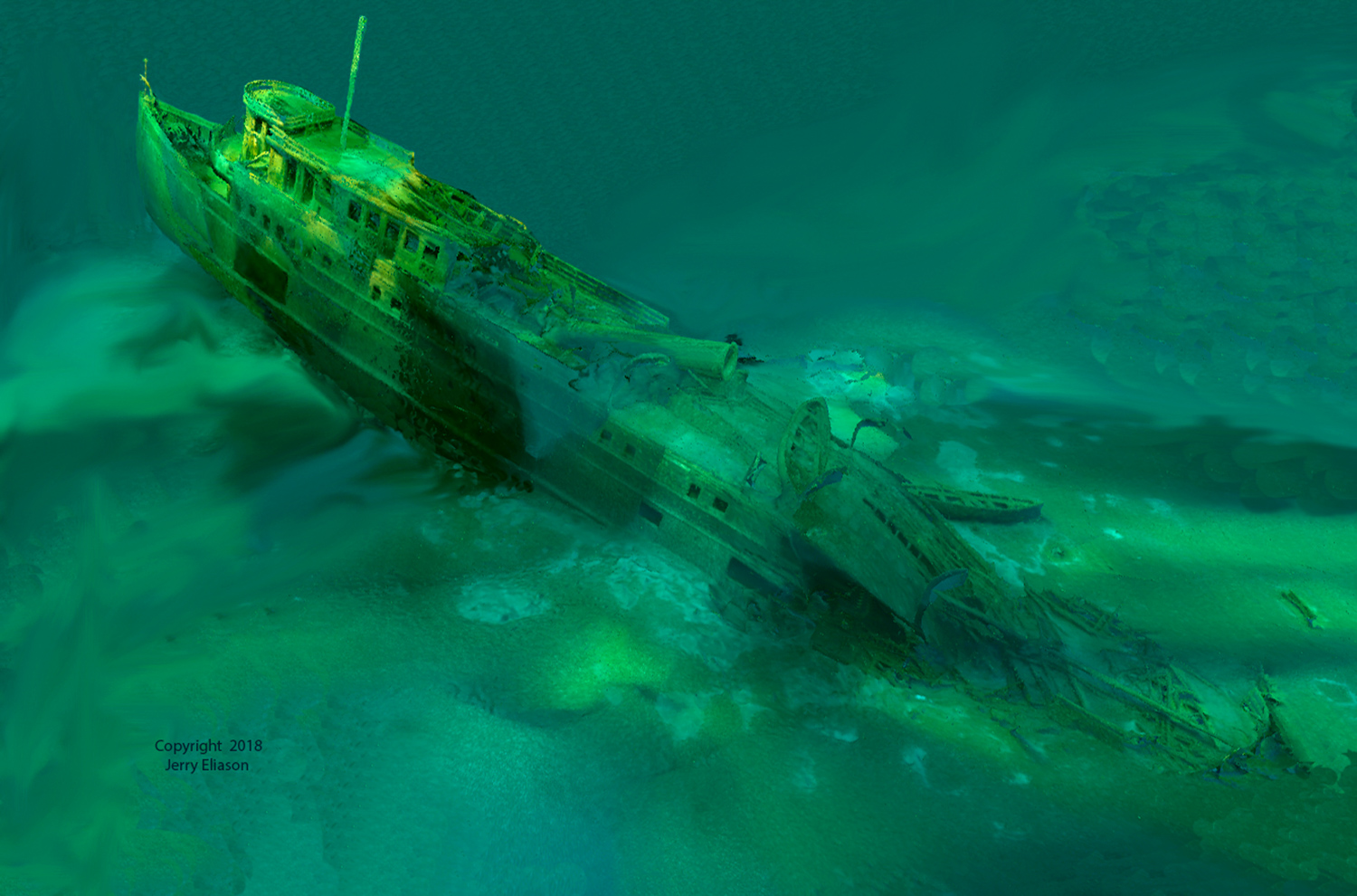 Jerry Eliason's 3D computer image of the MANASOO ship- wreck shows the dramatic angle of its bow.