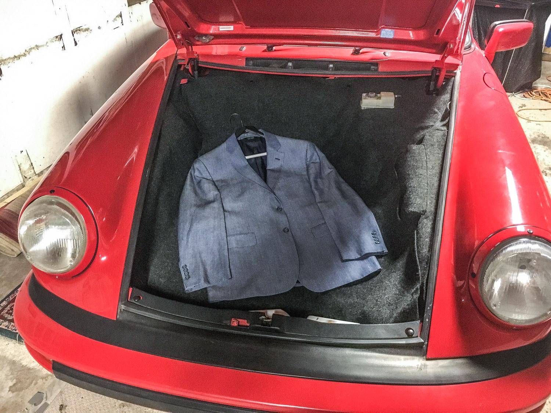 porsche 911 suit coat in frunk