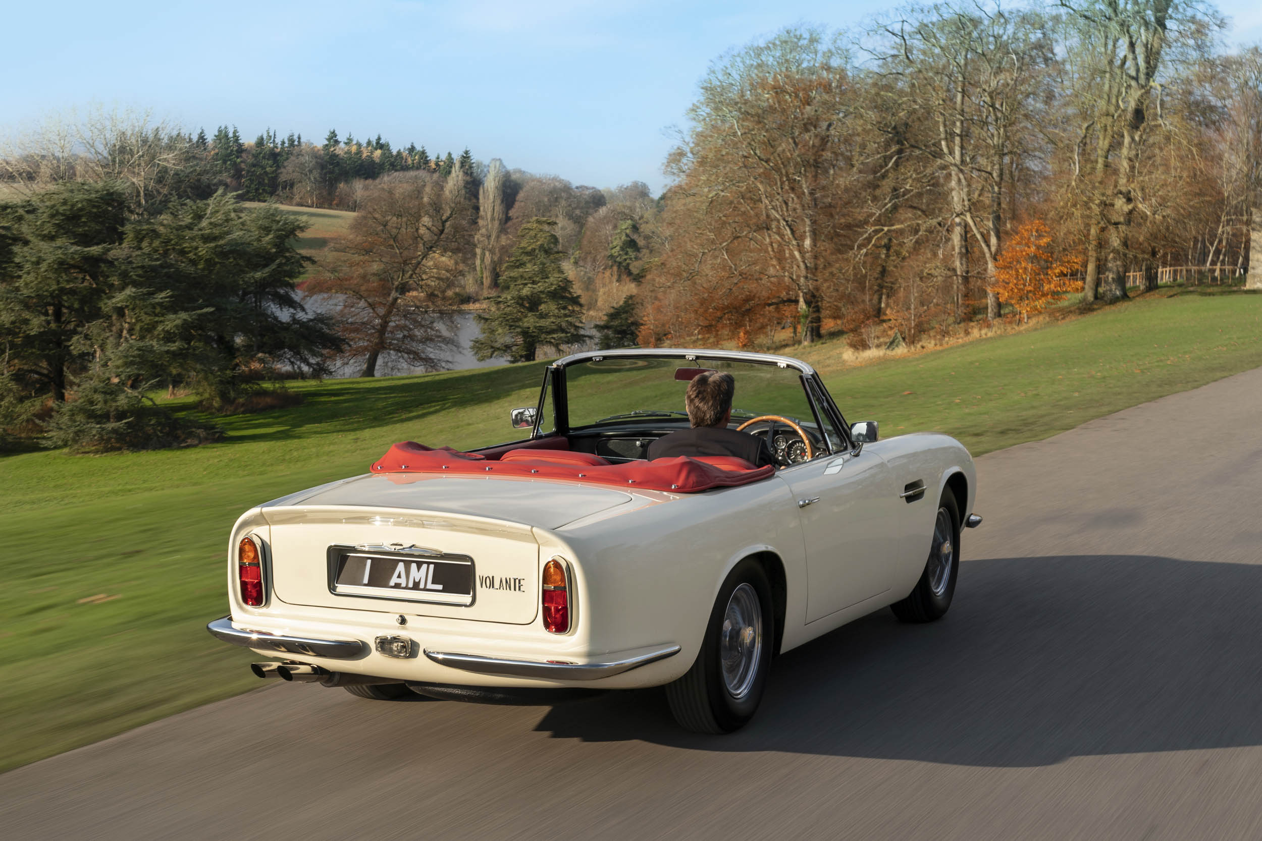 1970 DB6 MkII Volante EV driving rear 3/4