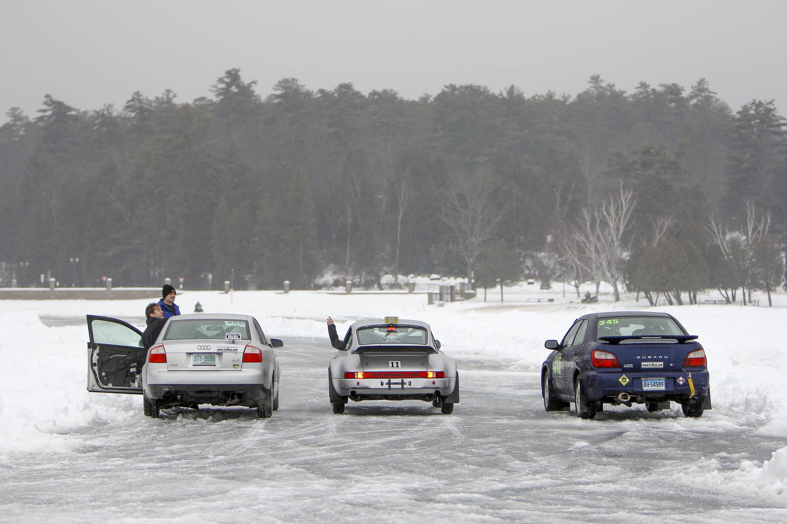 Subaru, Audi and Porsche ice racers