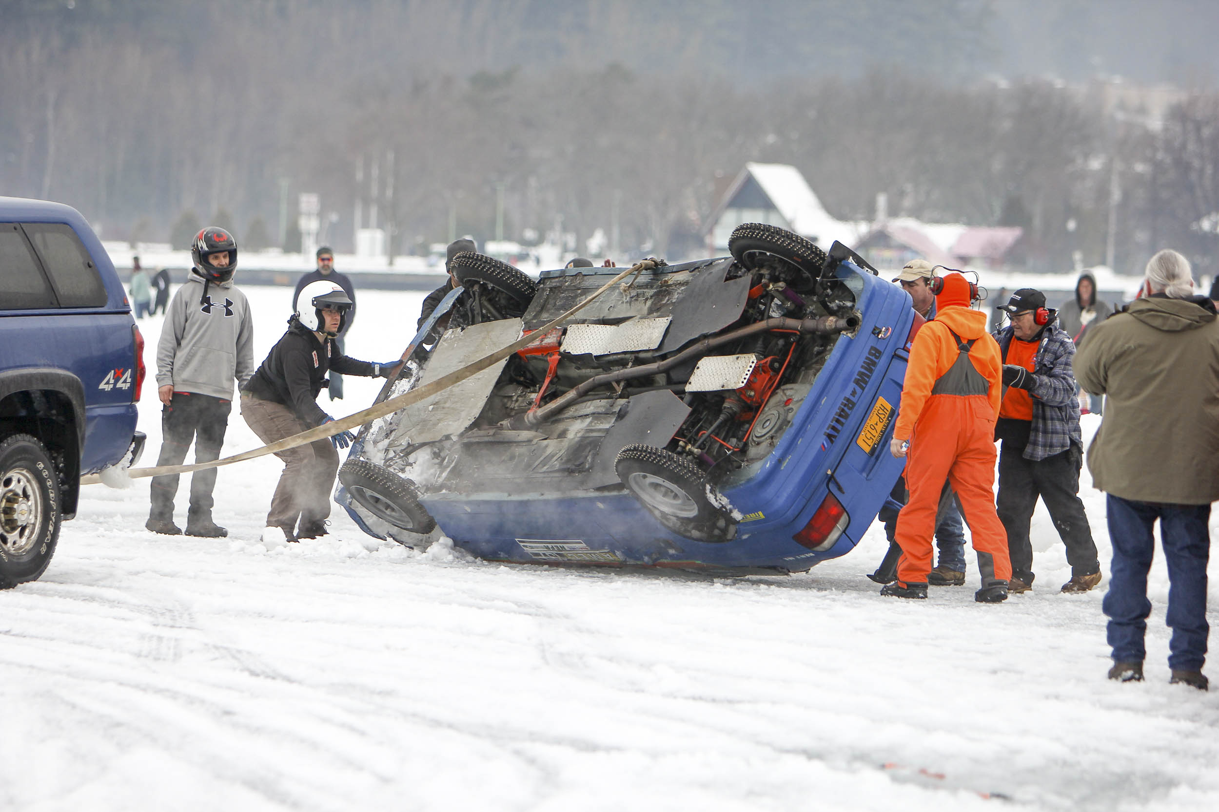 car flipped on ice