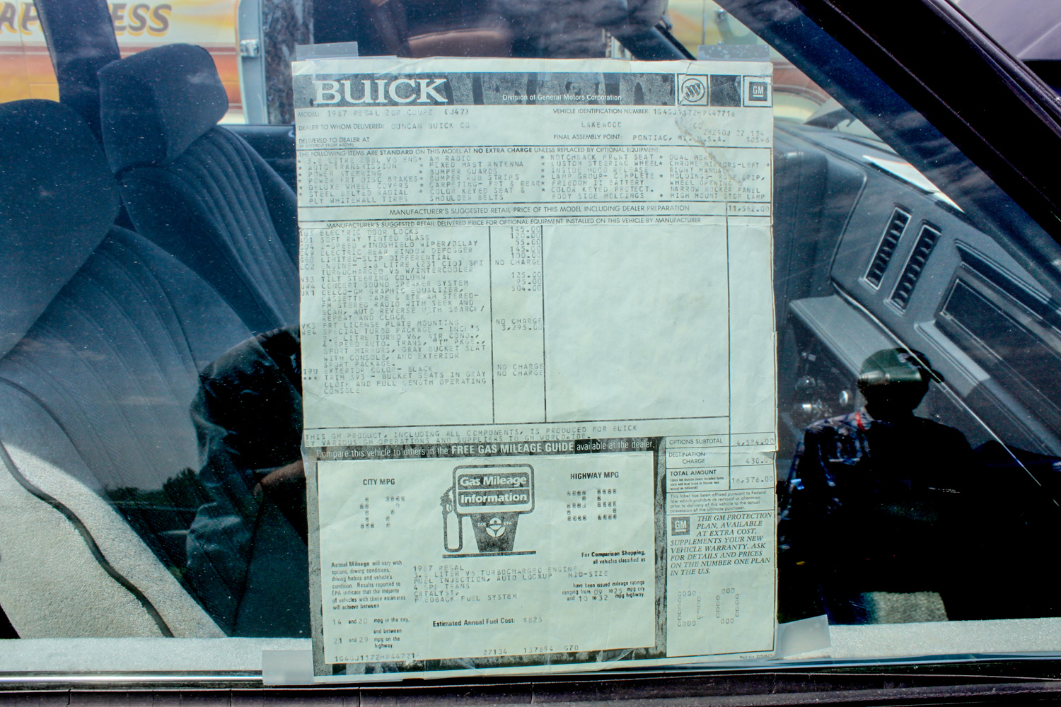1987 Buick turbo-T window Sticker