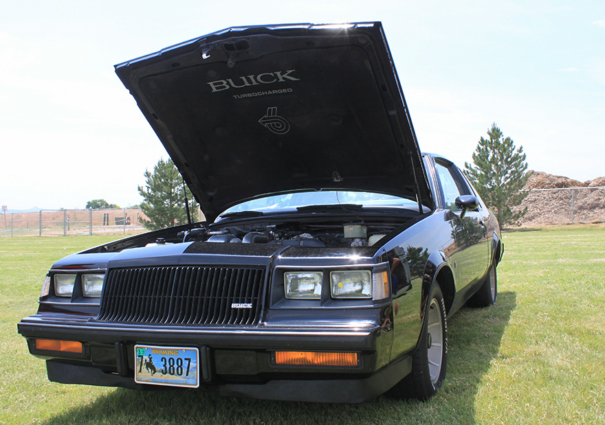 1987 Buick turbo-T hood up front view