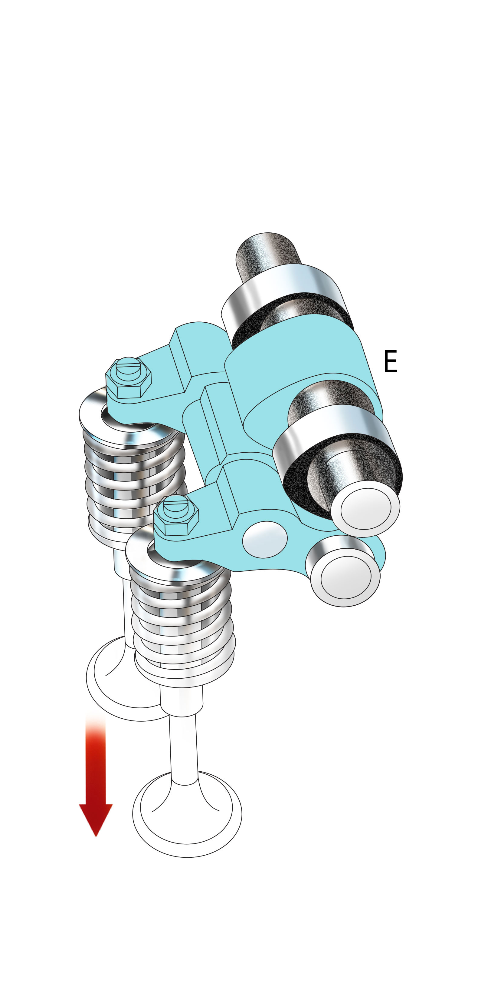 HIGH RPM: The more-aggressive profile of the center cam lobe (E) moves the valves farther down and holds them open longer to increase the fueland- air mixture entering the engine.