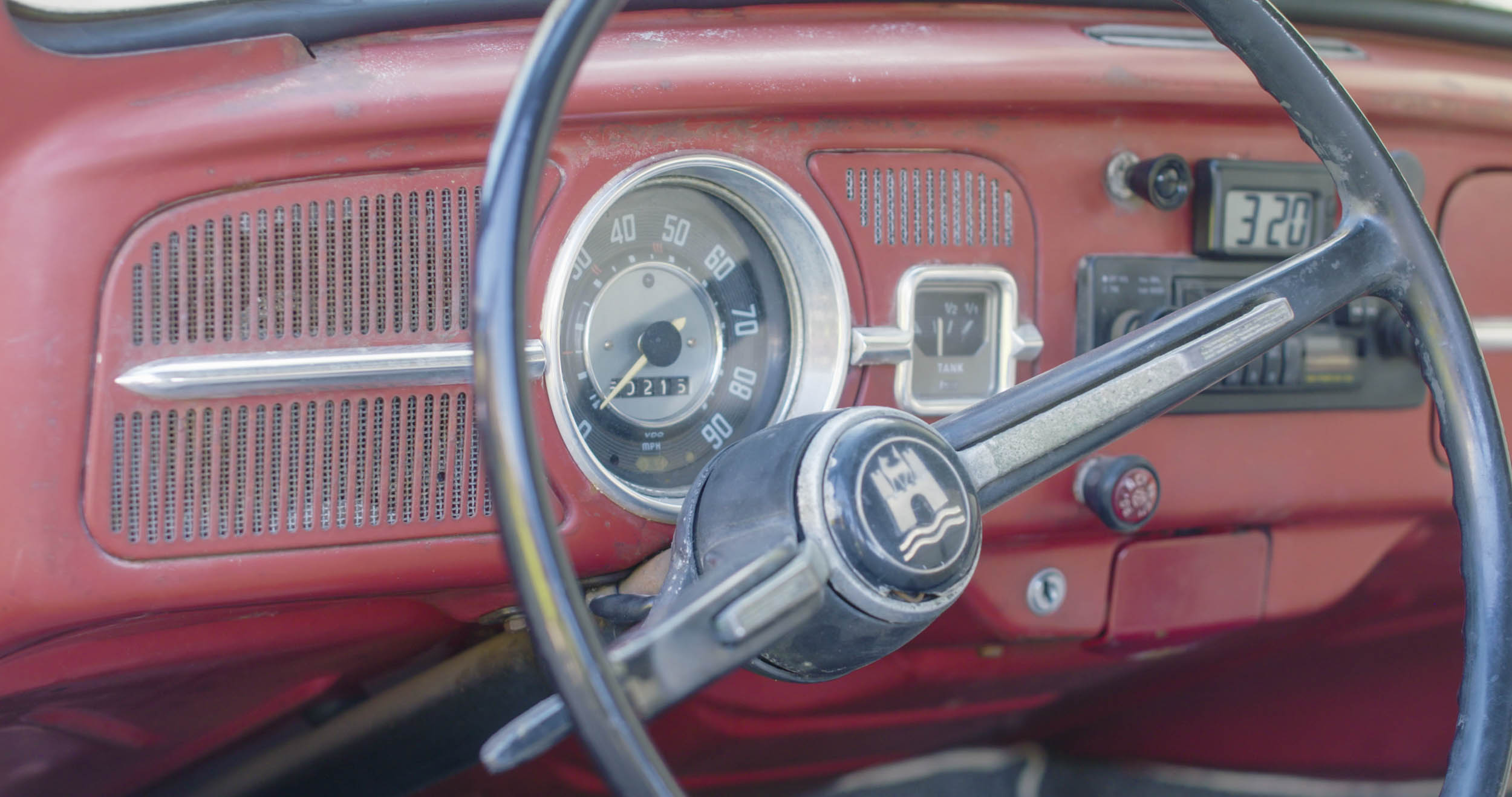 1967 Volkswagen Beetle steering wheel before restoration