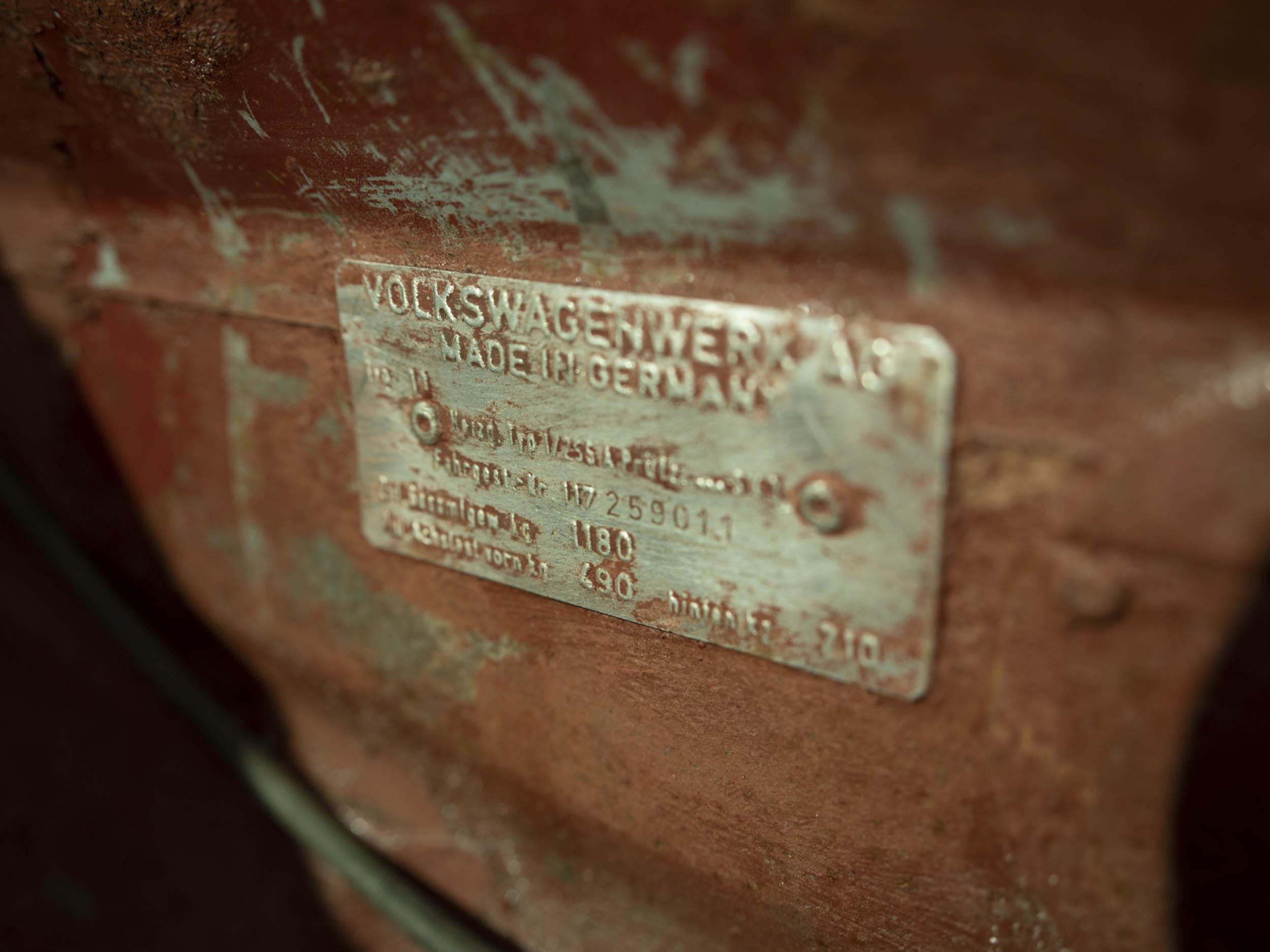 1967 Volkswagen Beetle vin plate