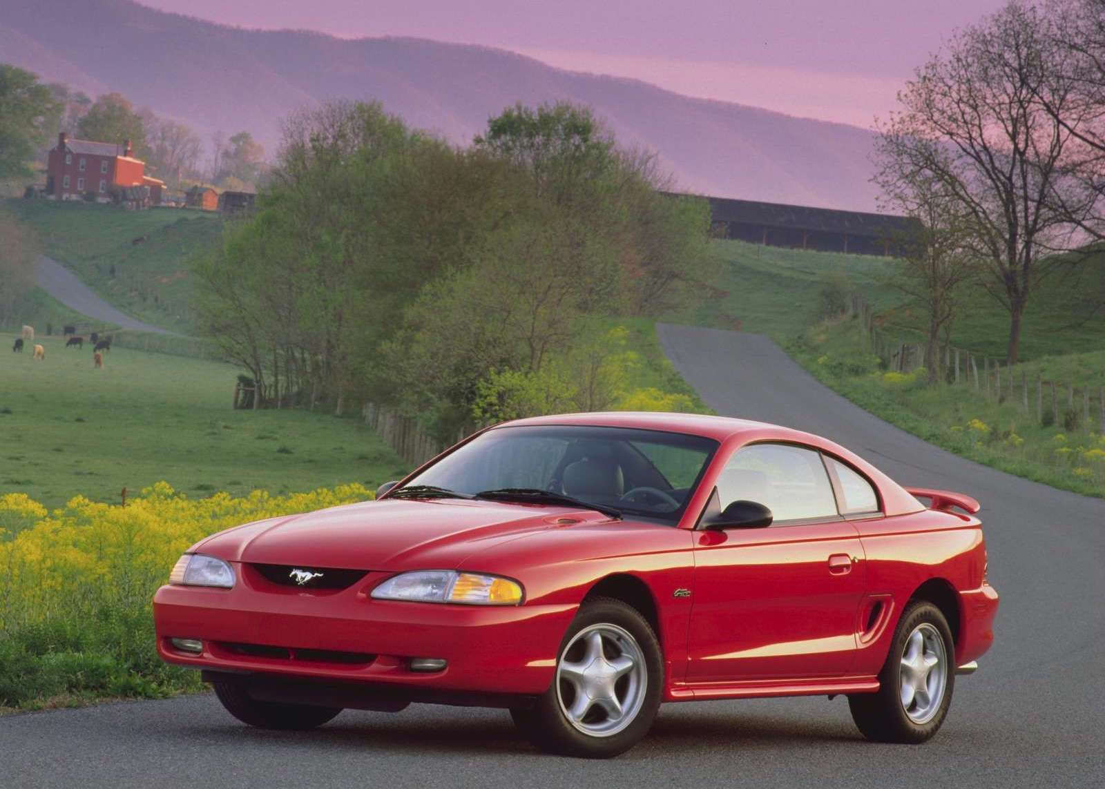 1996 Ford Mustang GT red 3/4 front