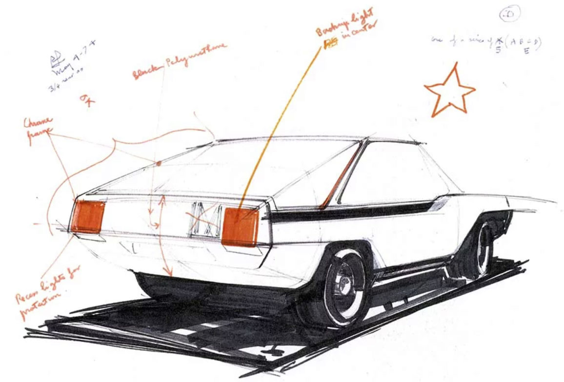 Loewy employed a team of young Americans to style the XRL. This early sketch, dated May 4, 1974, shows the car's low beltline, upward slash at the A-pillar, and wide wheels set at the corners.
