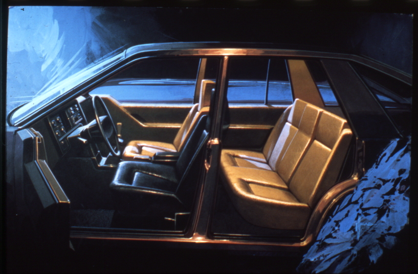 Loewy envisioned the driver's seat as separate from the rest of the interior, as illustrated by the black leather.
