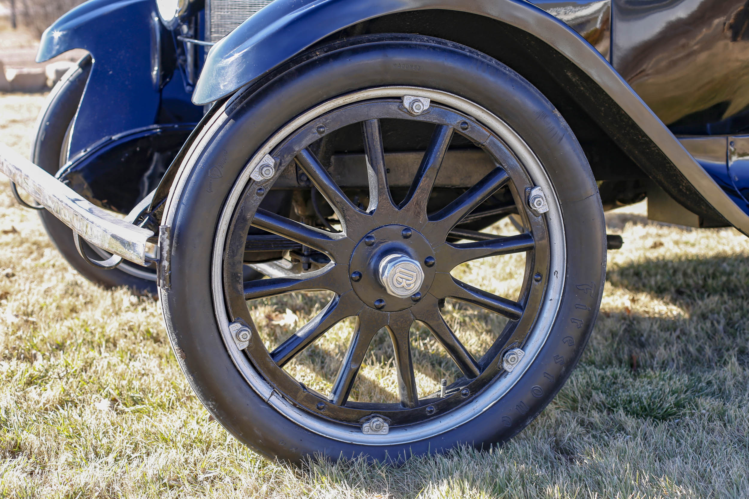 """Jimmy Stewart crashed the car into a tree with such force that the bumper needed to be repaired, and the left front fender and wheel were both replaced. """"If you look closely,"""" Smith says, """"you can tell that the wheel is from a Dodge truck. The spokes are a bit heftier."""""""