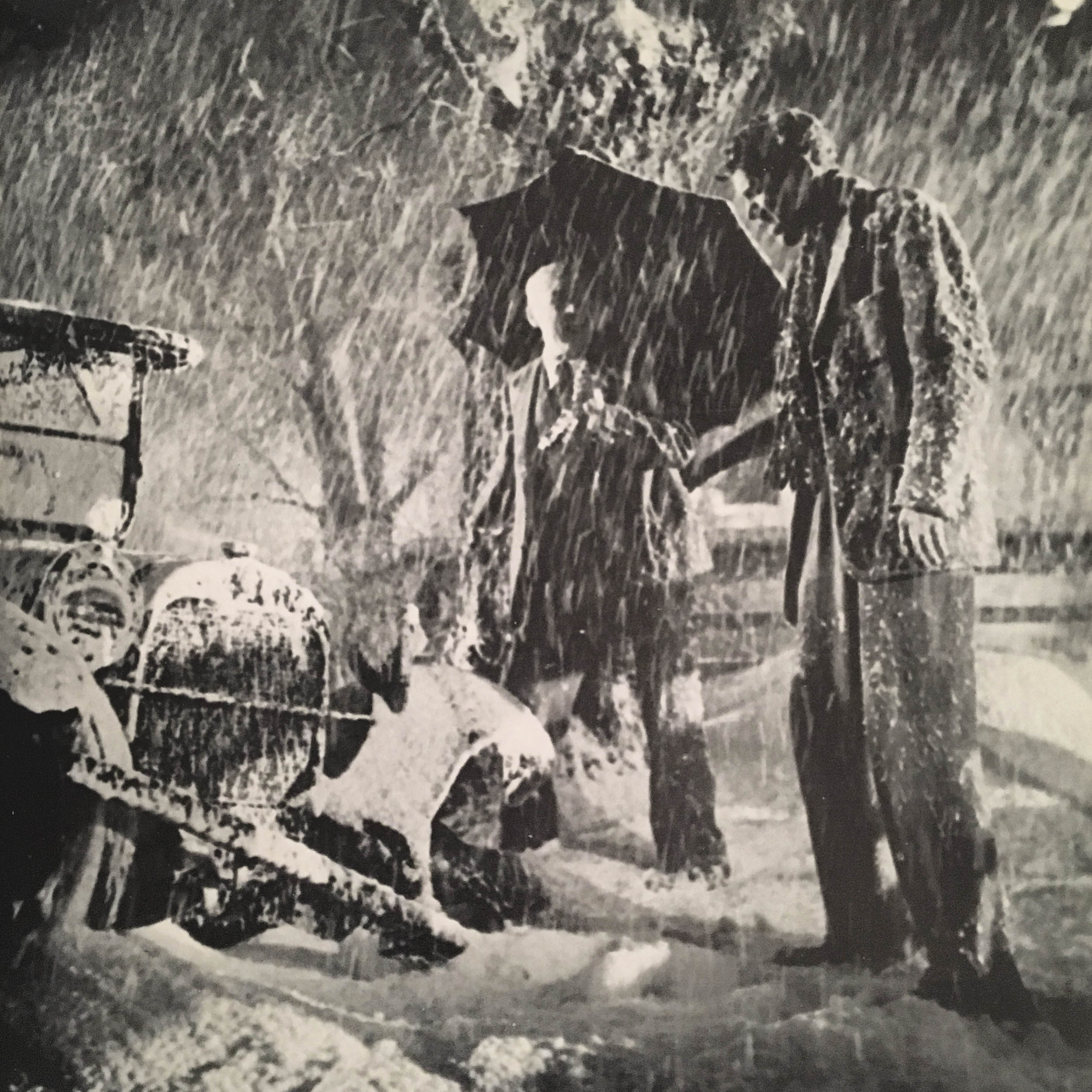 Jimmy Stewart meets the angry owner of the tree he crashed into in It's A Wonderful Life.