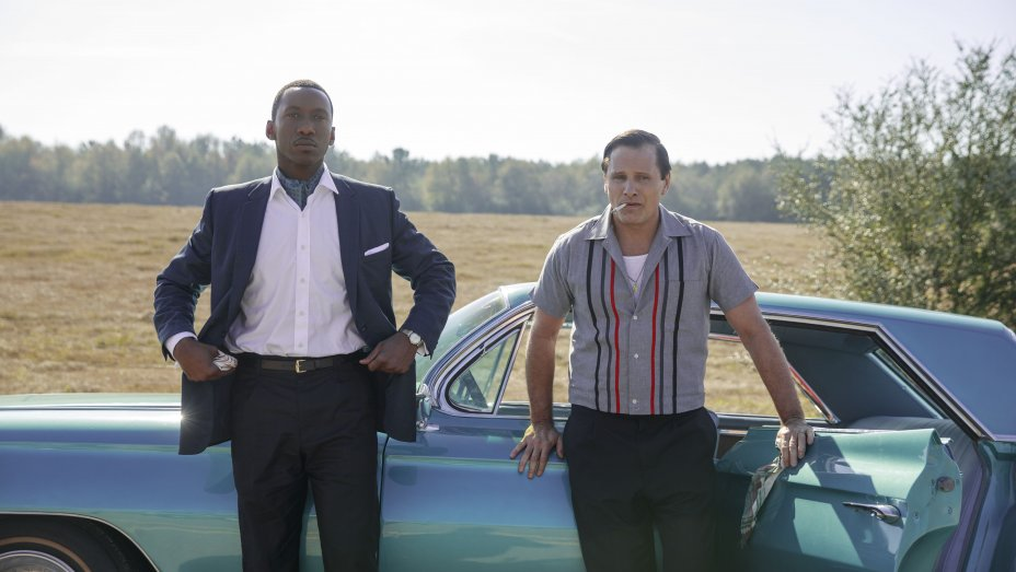 Viggo Mortensen and Mahershala Ali in front of the cadillac in Green Book