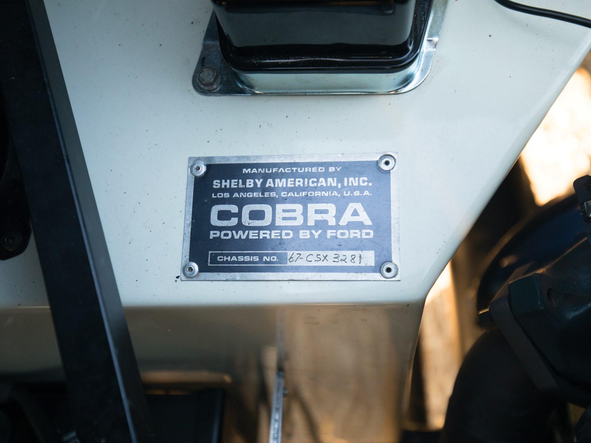 1967 Shelby 427 Cobra VIN plate