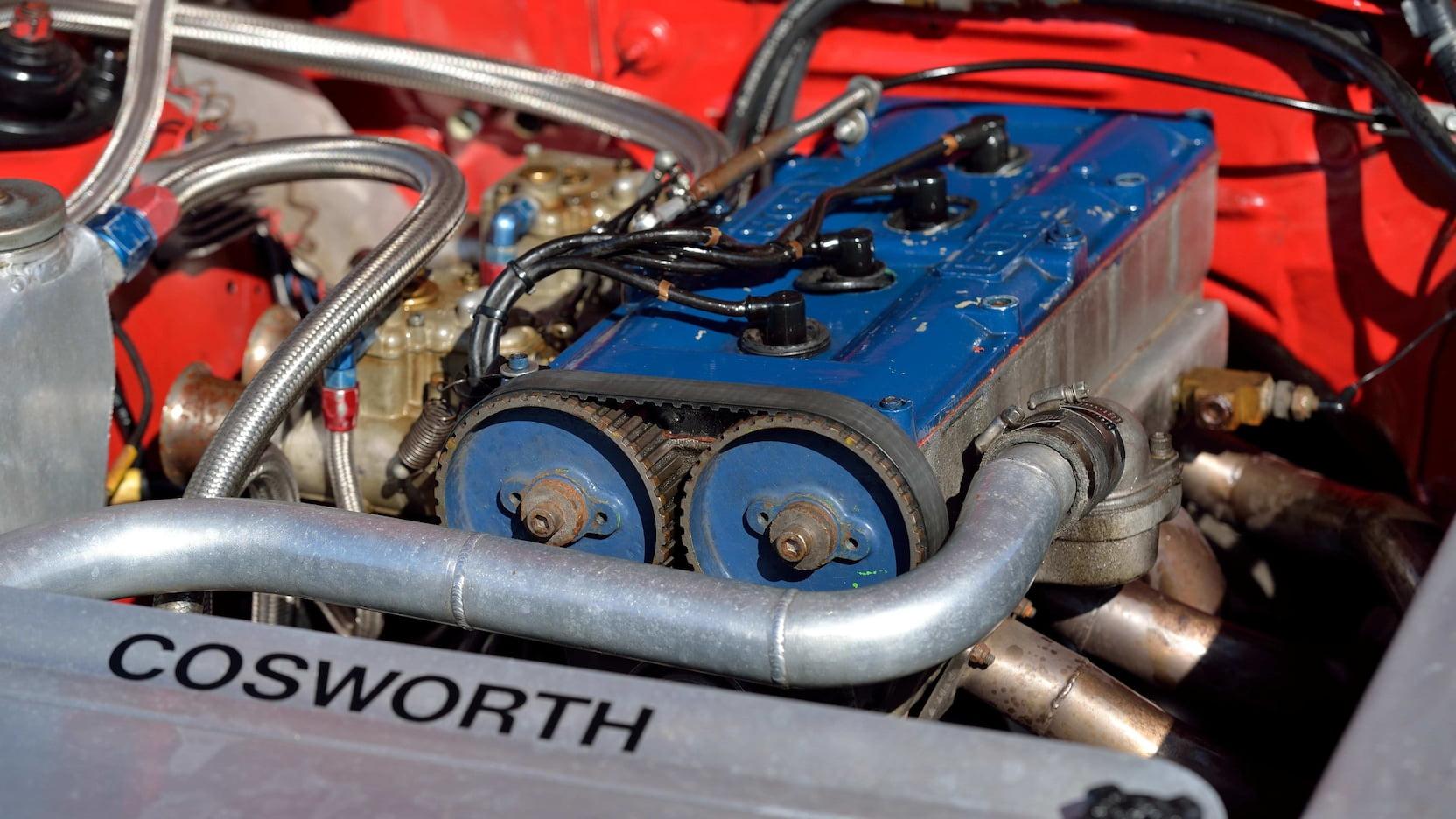 1980 Mercury Cosworth Capri engine belt close up