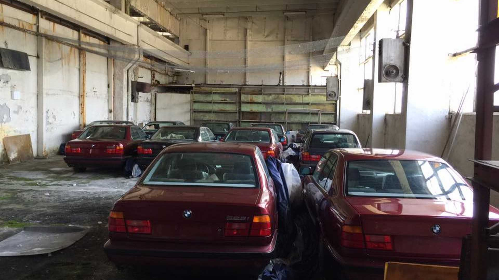 Group of BMW 5 Series cars found in a warehouse