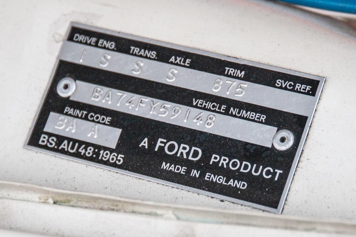 1966 Ford Cortina Lotus. Ex-works vin tag