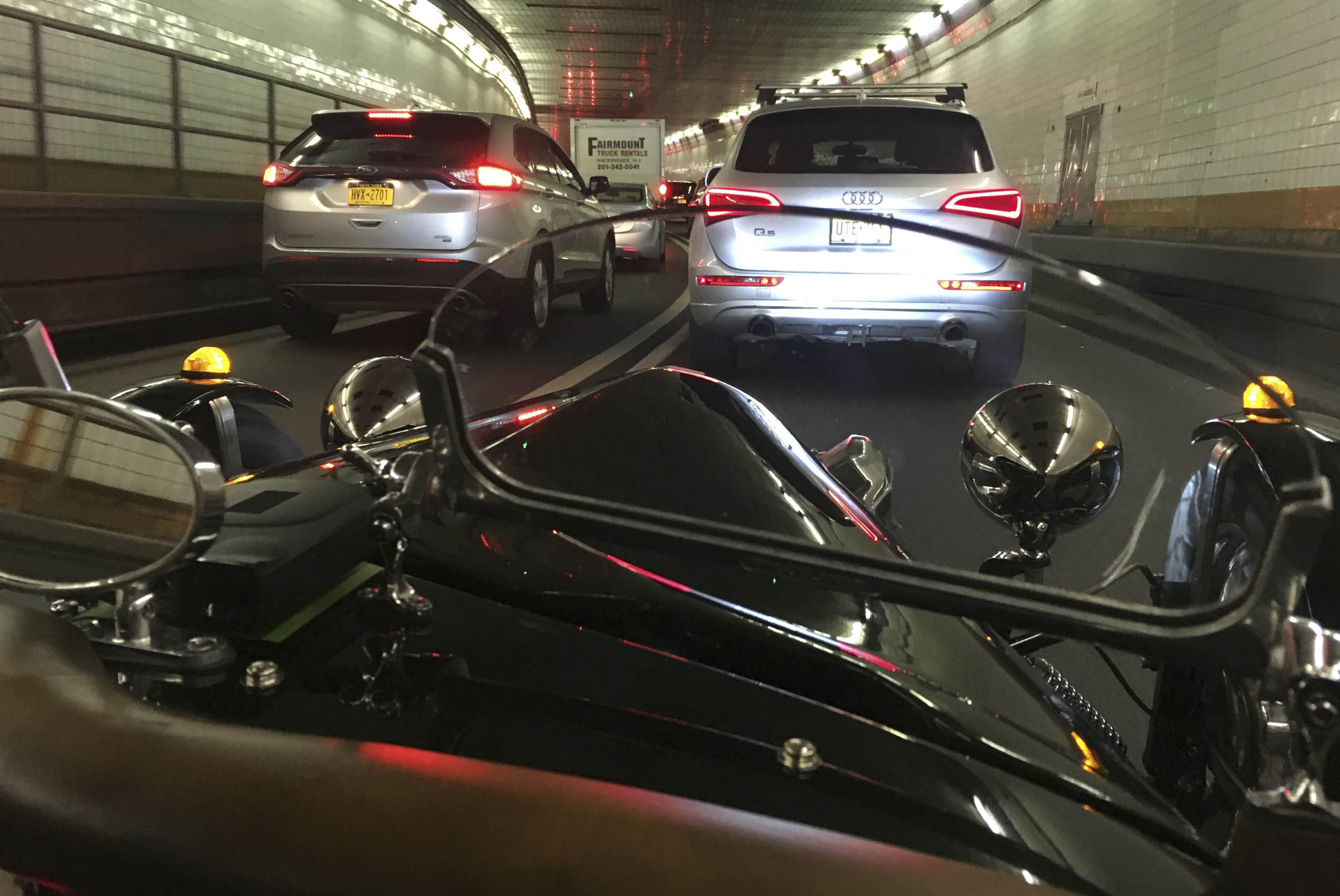 stuck in traffic in a tunnel