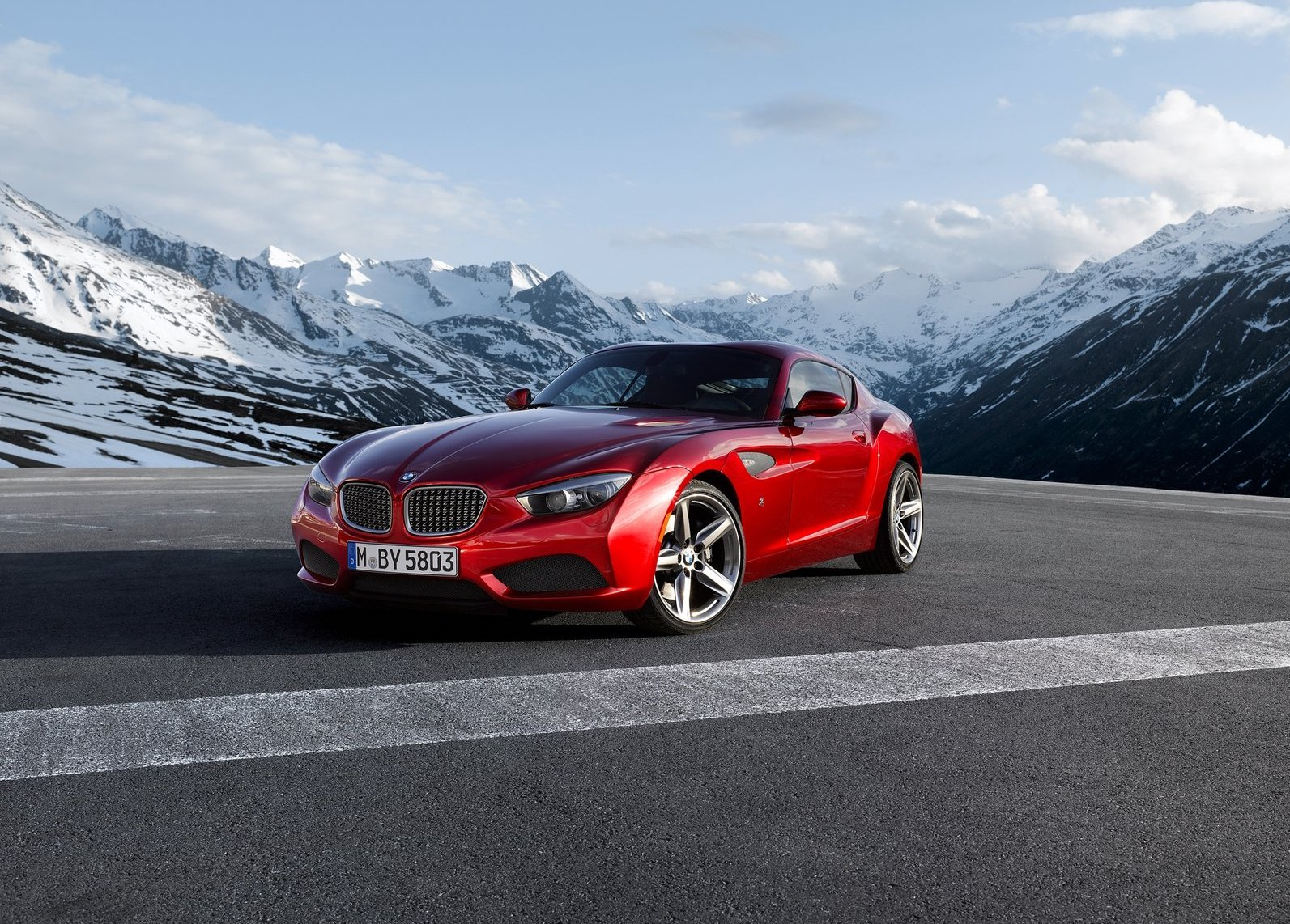 2012 BMW Zagato Coupe 3/4 front runway mountains