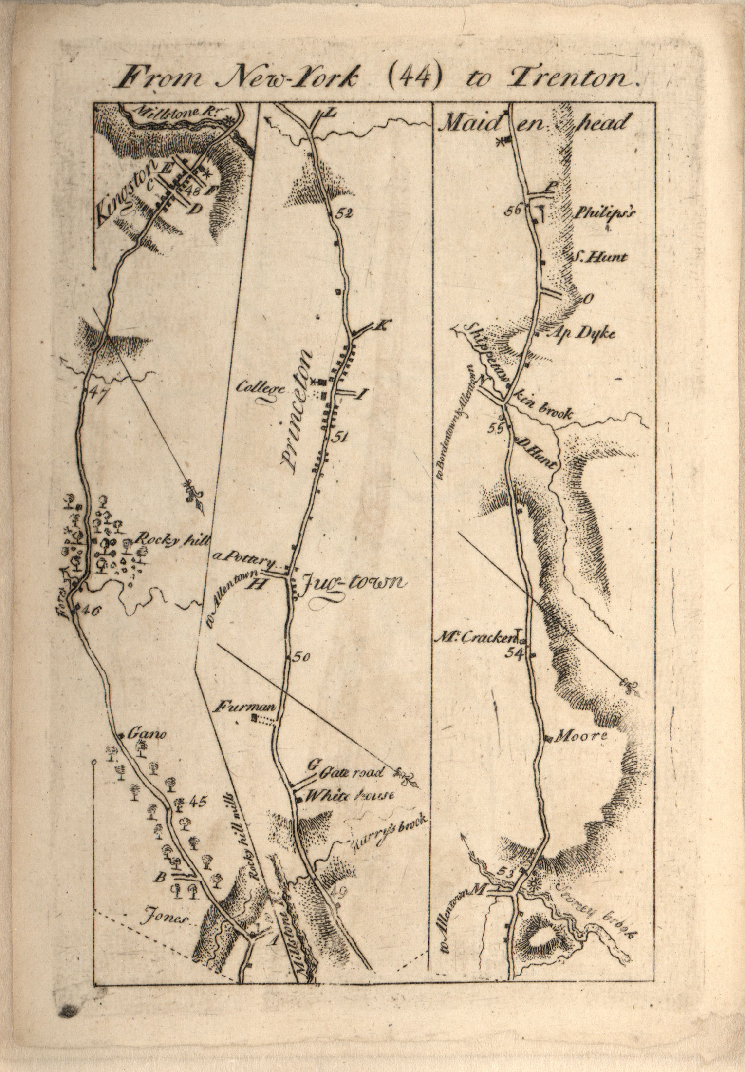 Map from New-York to Trenton