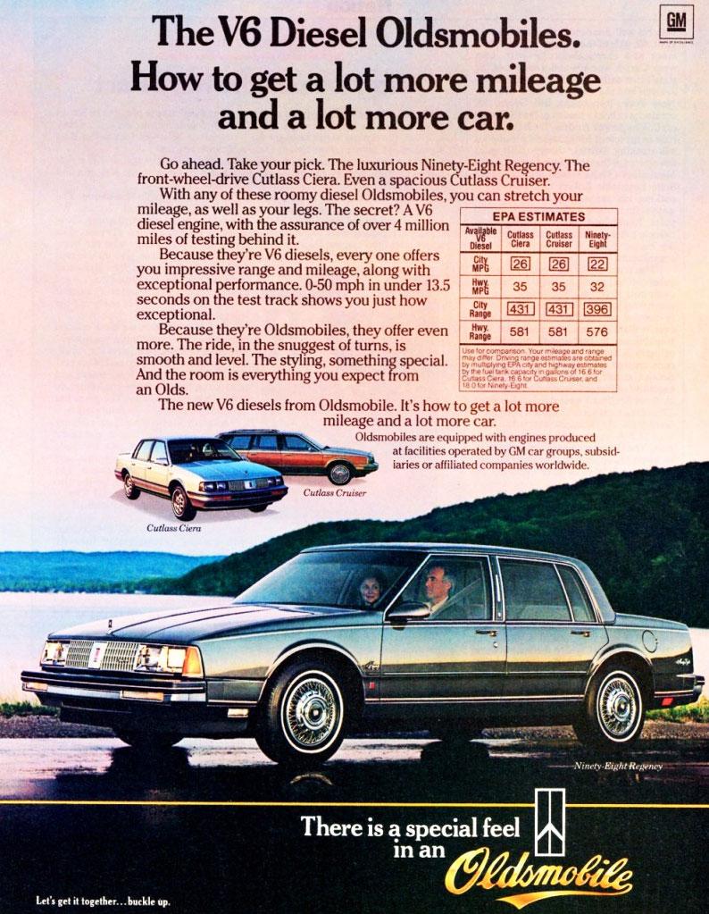 V-6 Diesel Oldsmobile advertisement