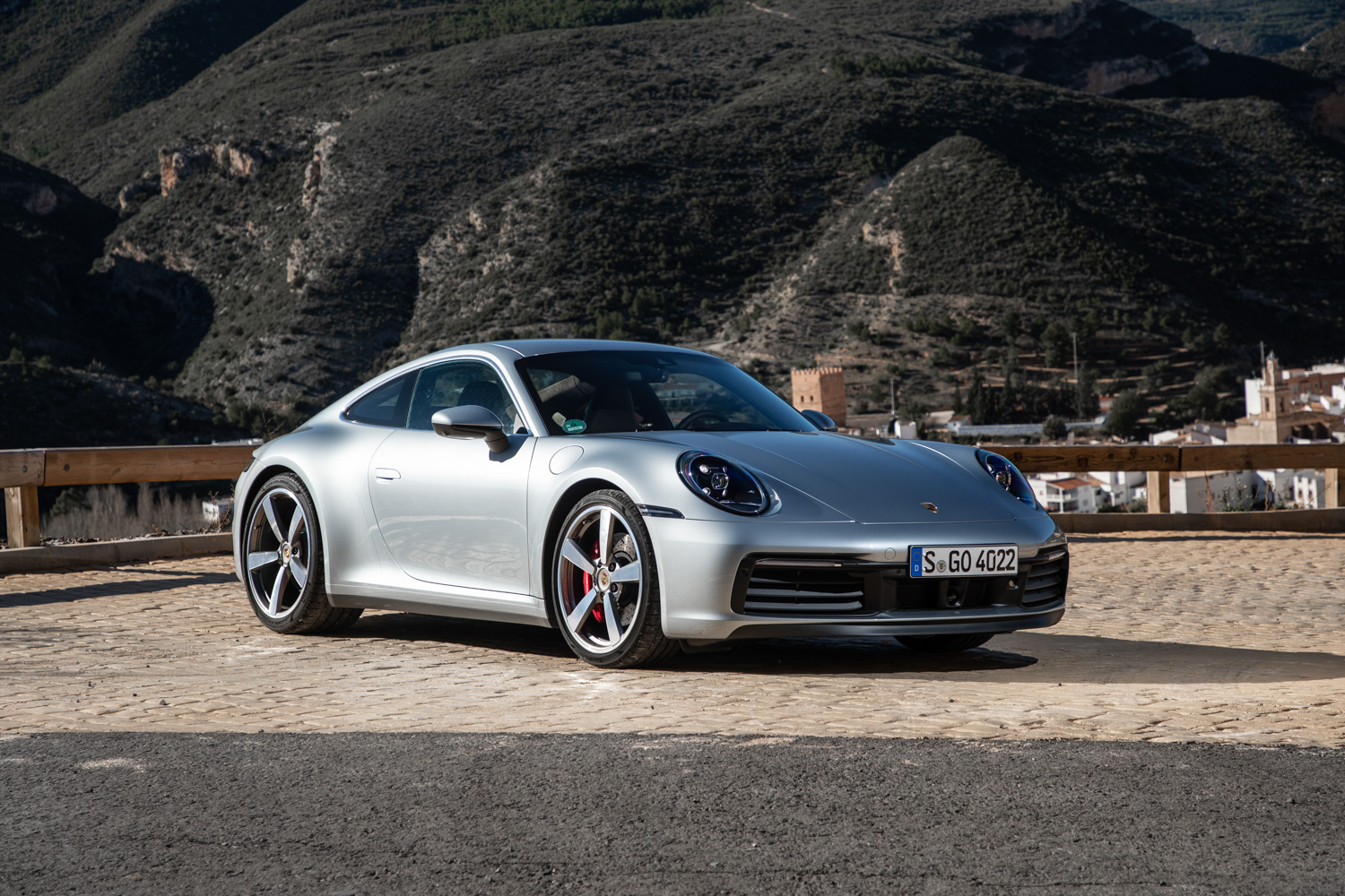 2020 Porsche 911 Carrera S 3/4 hill background front