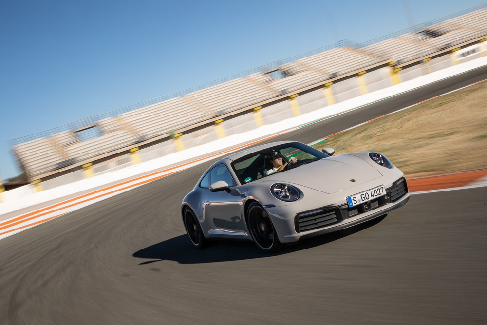 2020 Porsche 911 Carrera S on track 3/4