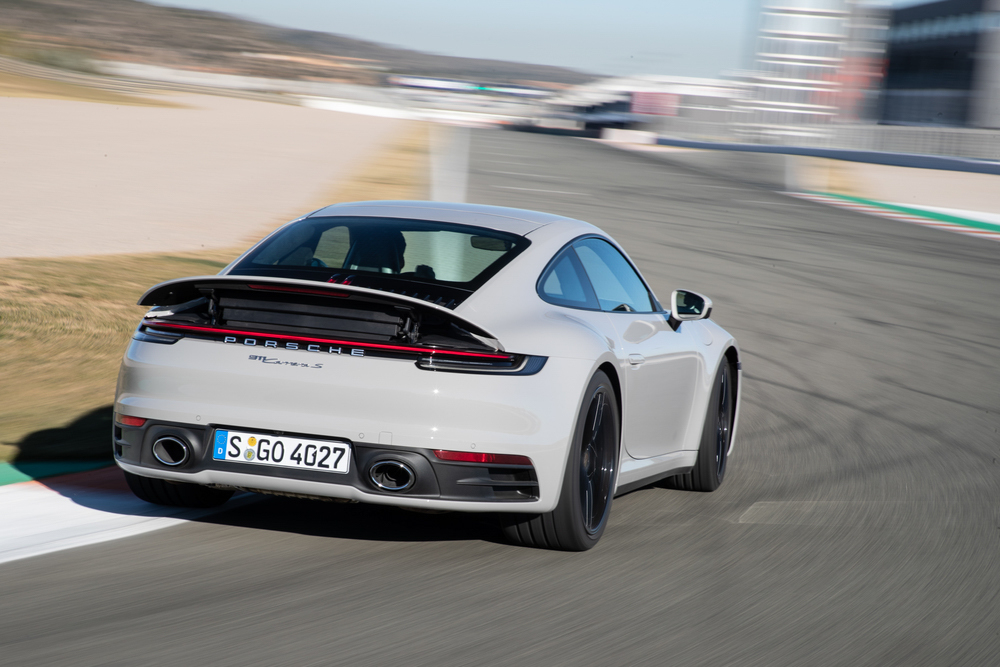 2020 Porsche 911 Carrera S spoiler deployed on track