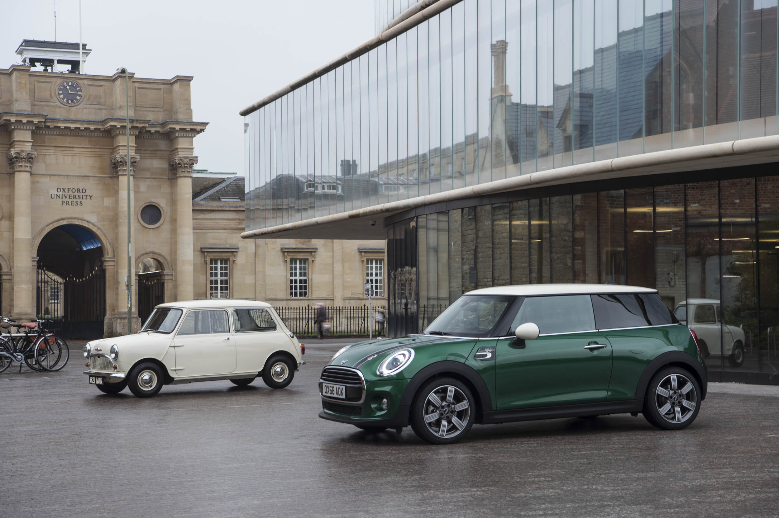 1959 Morris Mini-Minor with 60th anniversary Mini Cooper