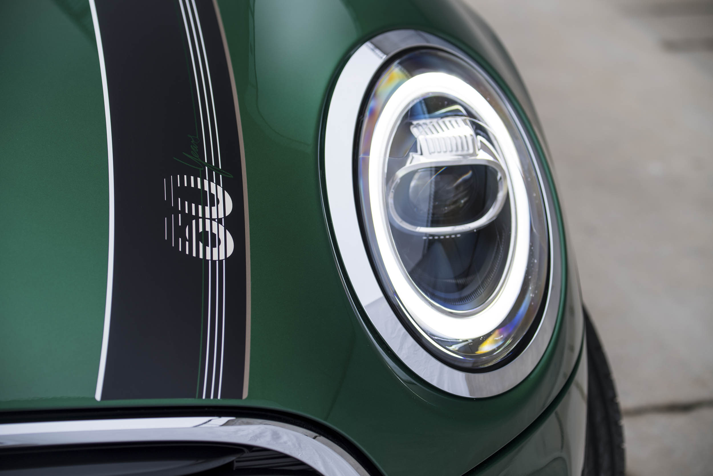 60th anniversary Mini Cooper headlight and paint detail