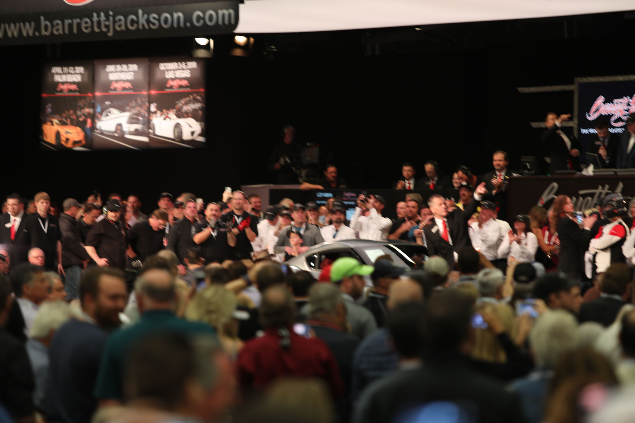 Chaos during the 2020 Toyota Supra sale at Barrett-Jackson