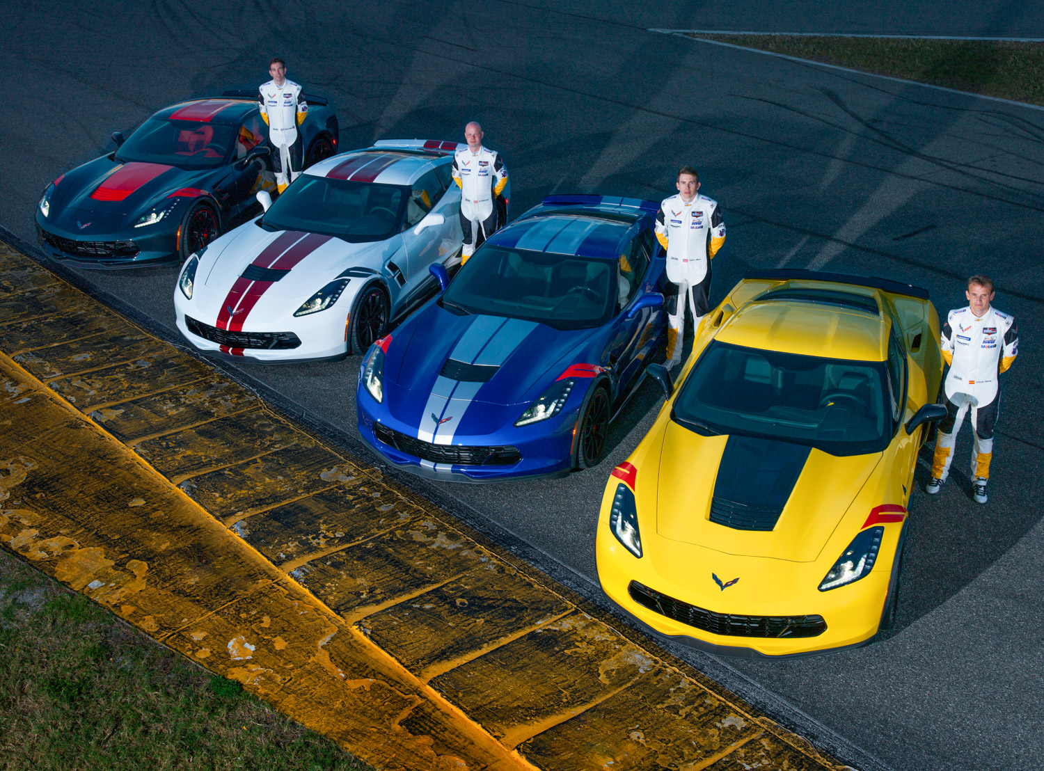 "2019 Chevrolet Corvette Grand Sport ""Drivers Edition"" lineup with cars"