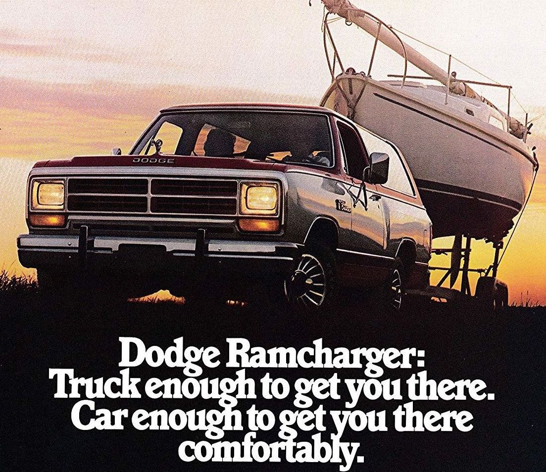 1985 Dodge Ramcharger ad sailboat