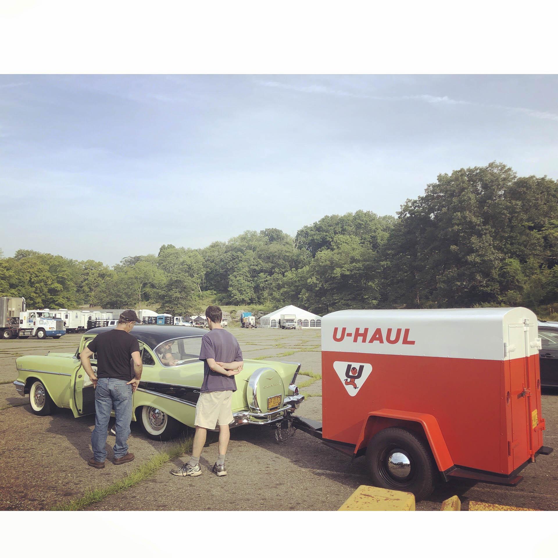 1957 Chevrolet 210 sedan, with custom built replica of 1956 U Haul trailer built for The Marvelous Mrs. Maisel by Paul Mantell, filmed Harriman State Park NY