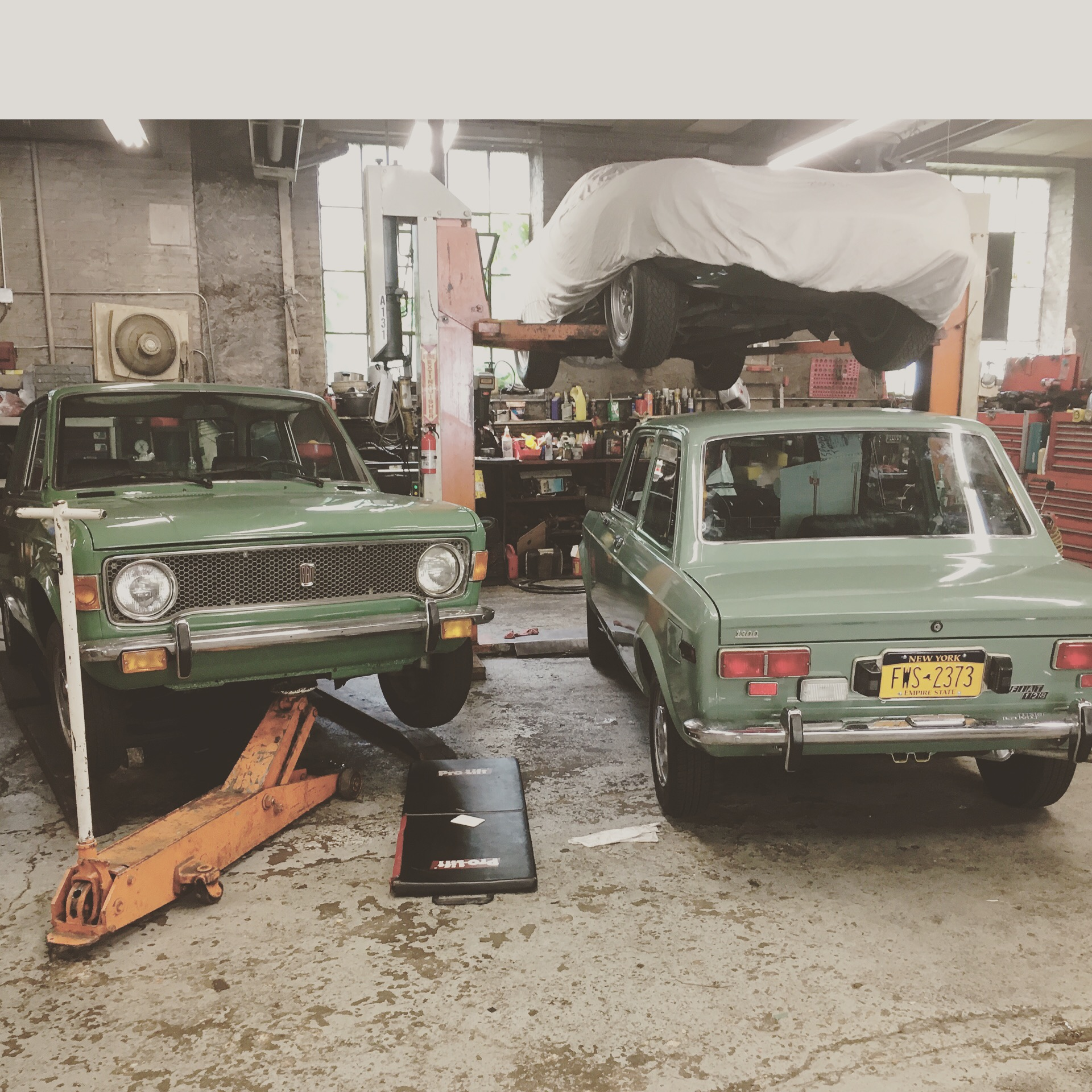 1975 and 1974 Fiat 128 hero cars, trying to look identical, while preparing for the Steven Spielberg movie The Post, Brooklyn, NY.