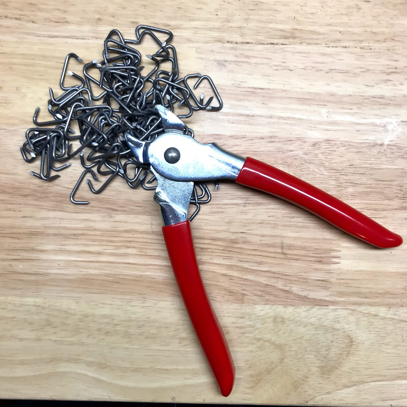 The right tool for the job. there are lots of hog rings in a pair of seats. If I was doing another pair of seats I would buy a nicer set of hog ring pliers. Don't be cheap on this tool.