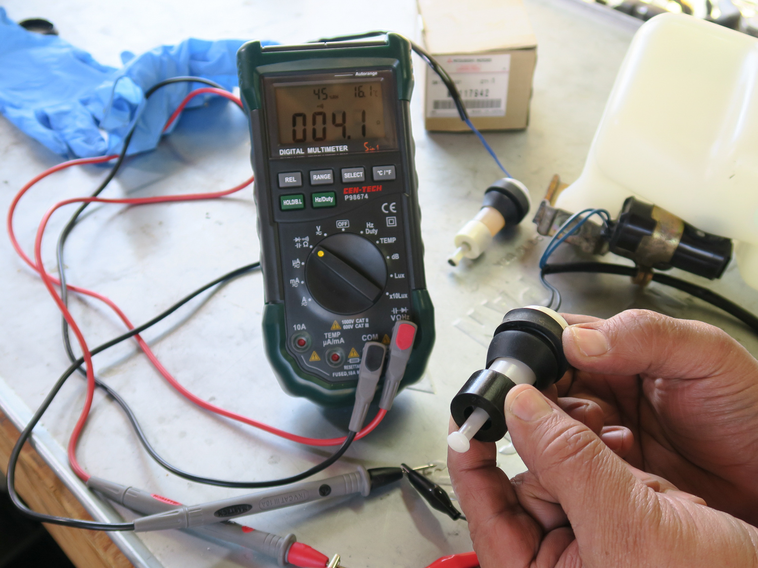 Winter projects fuel float switch multimeter
