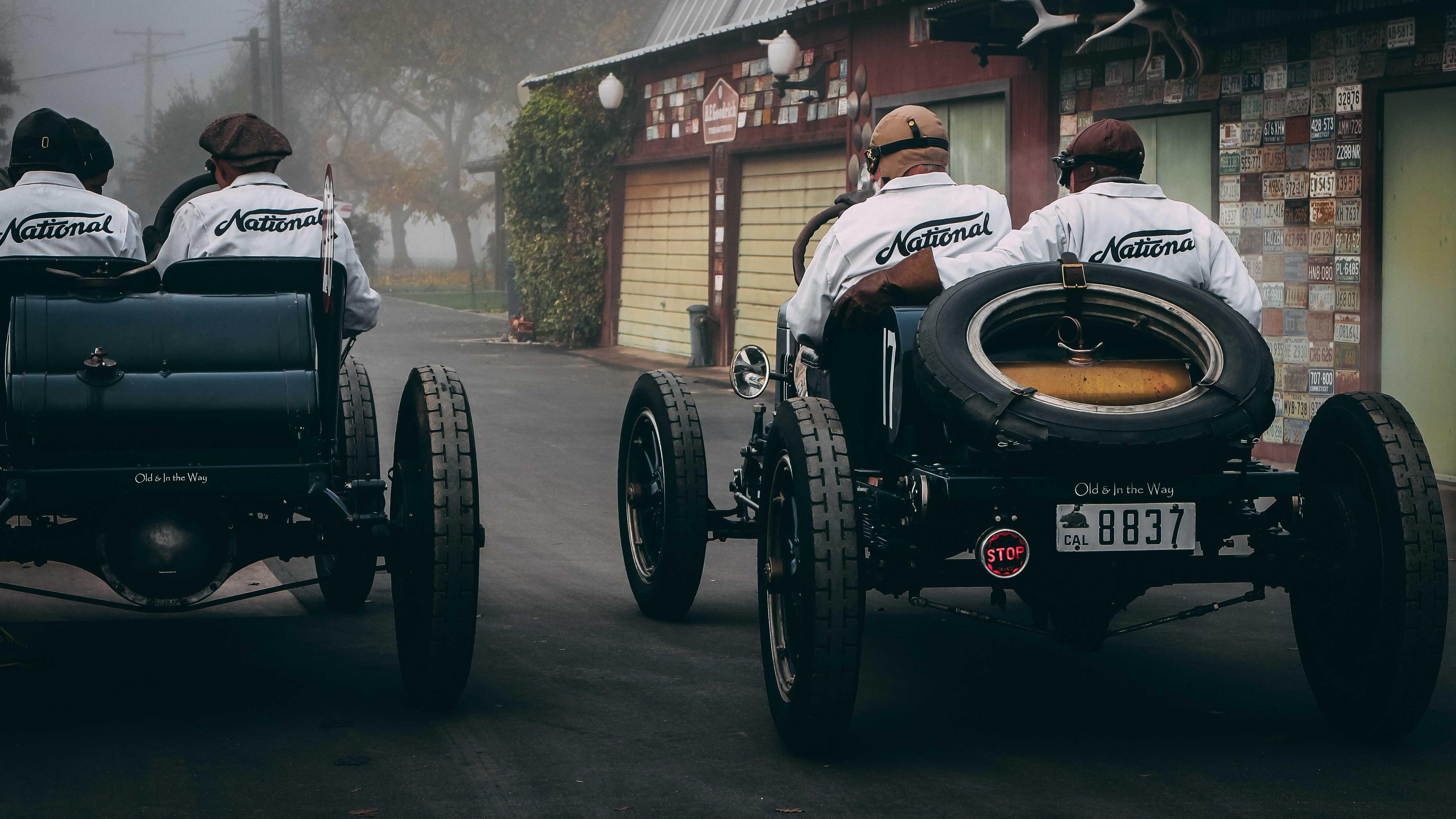 driving a vintage race car