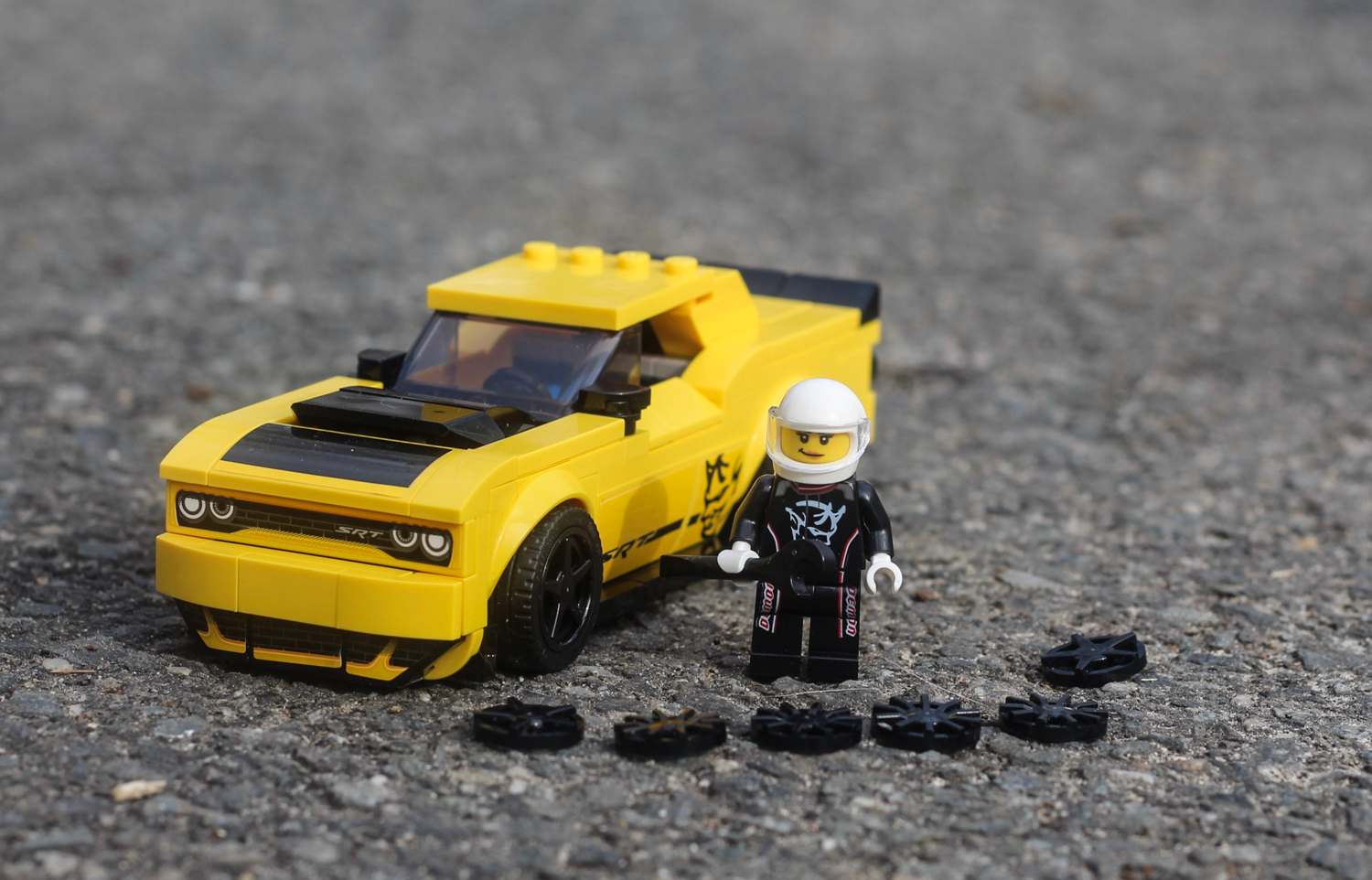 lego dodge demon with lego figure driver